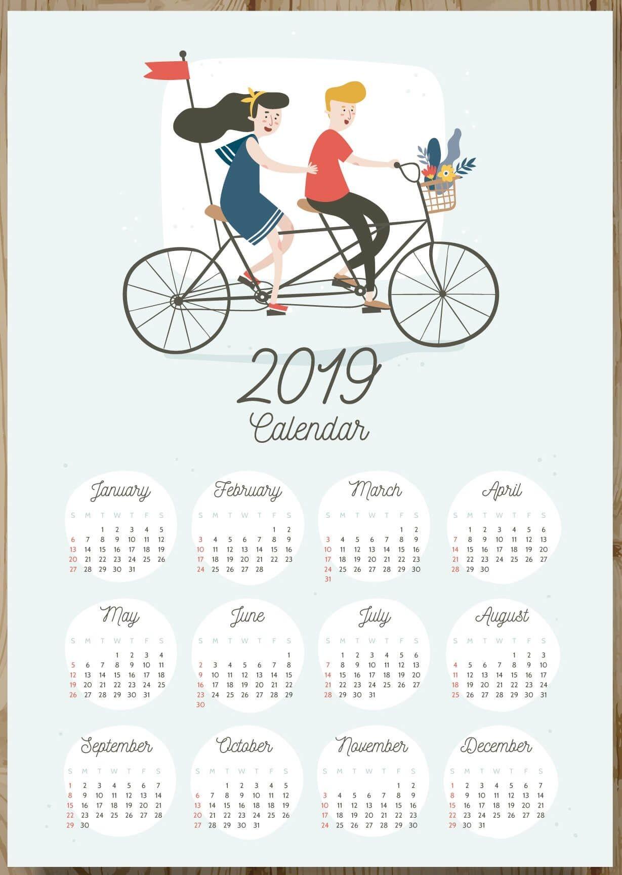 12 Months 2019 e Page Calendar 2019Calendars