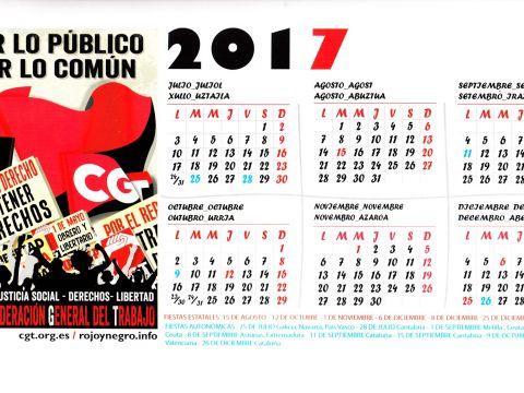 """Calendario Para Imprimir Julho E Agosto 2019 Más Recientes Espanha – Confederaci""""n General Del Trabajo Cgt – 2017 – Ephemera"""