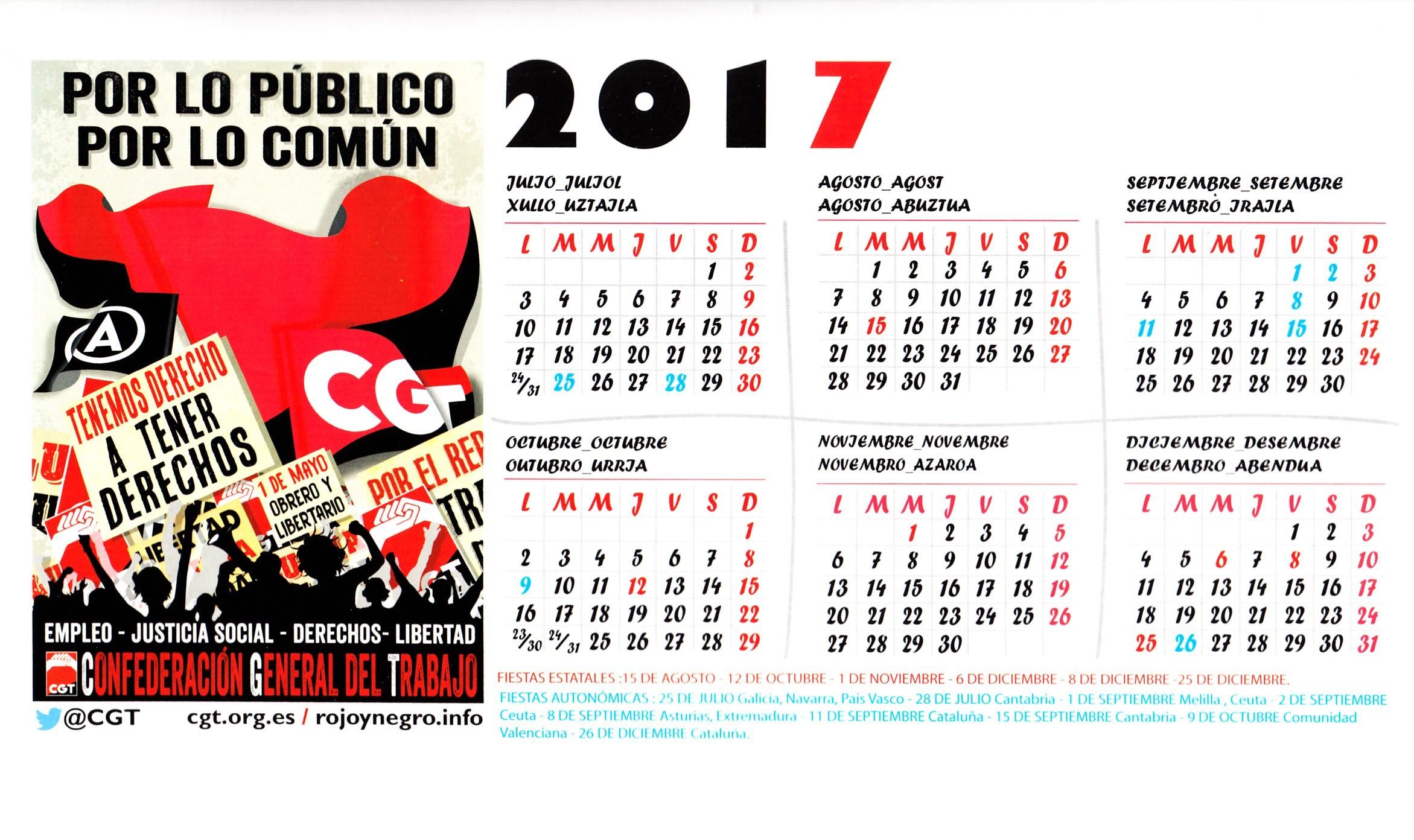 """ESPANHA – CONFEDERACI""""N GENERAL DEL TRABAJO CGT – 2017 – EPHEMERA – Biblioteca e arquivo de José Pacheco Pereira"""