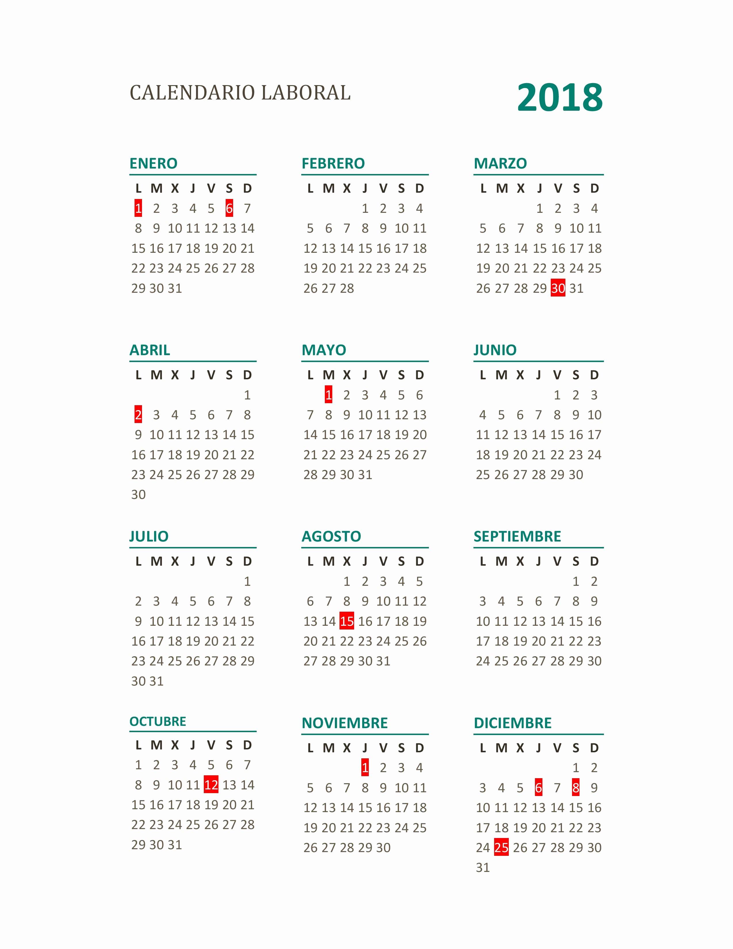 Calendari Laboral Badalona 2019 Calendario Laboral 2018 Mas De 200 Plantillas Para