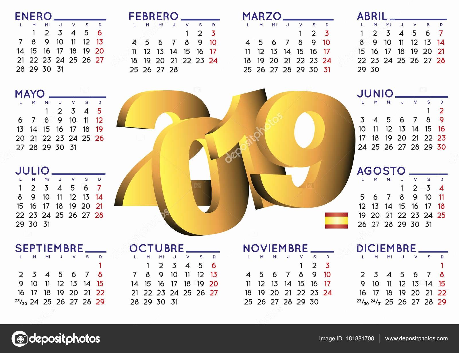 calendario luz del tajo 2019 calendario luz del tajo 2019 calendario 2019 en espanol horizontal vector de stock