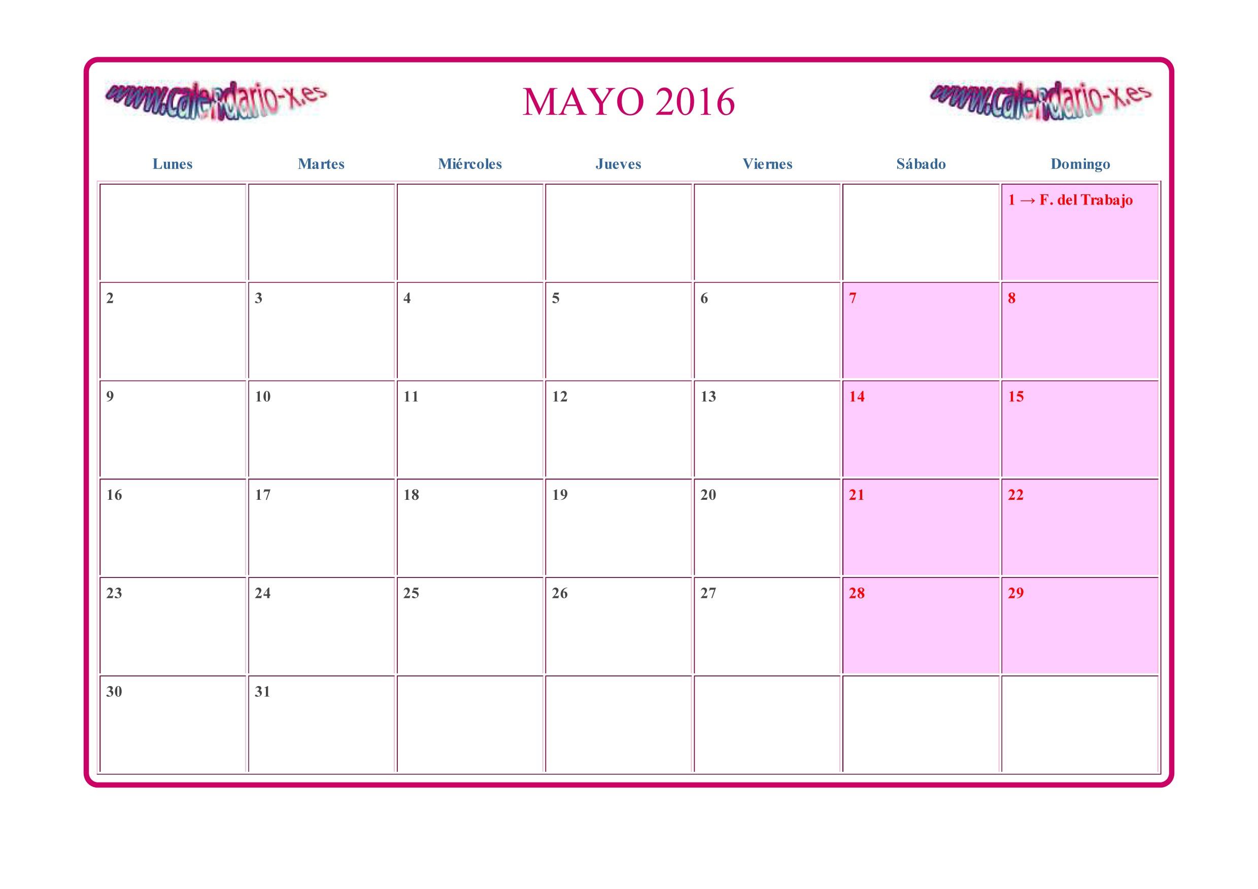Calendario Planeador 2019 Colombia Para Imprimir Más Recientes Mayo 2016 Swfoo S Of Calendario Planeador 2019 Colombia Para Imprimir Más Caliente Image for Febrero Argentina Calendario 2018