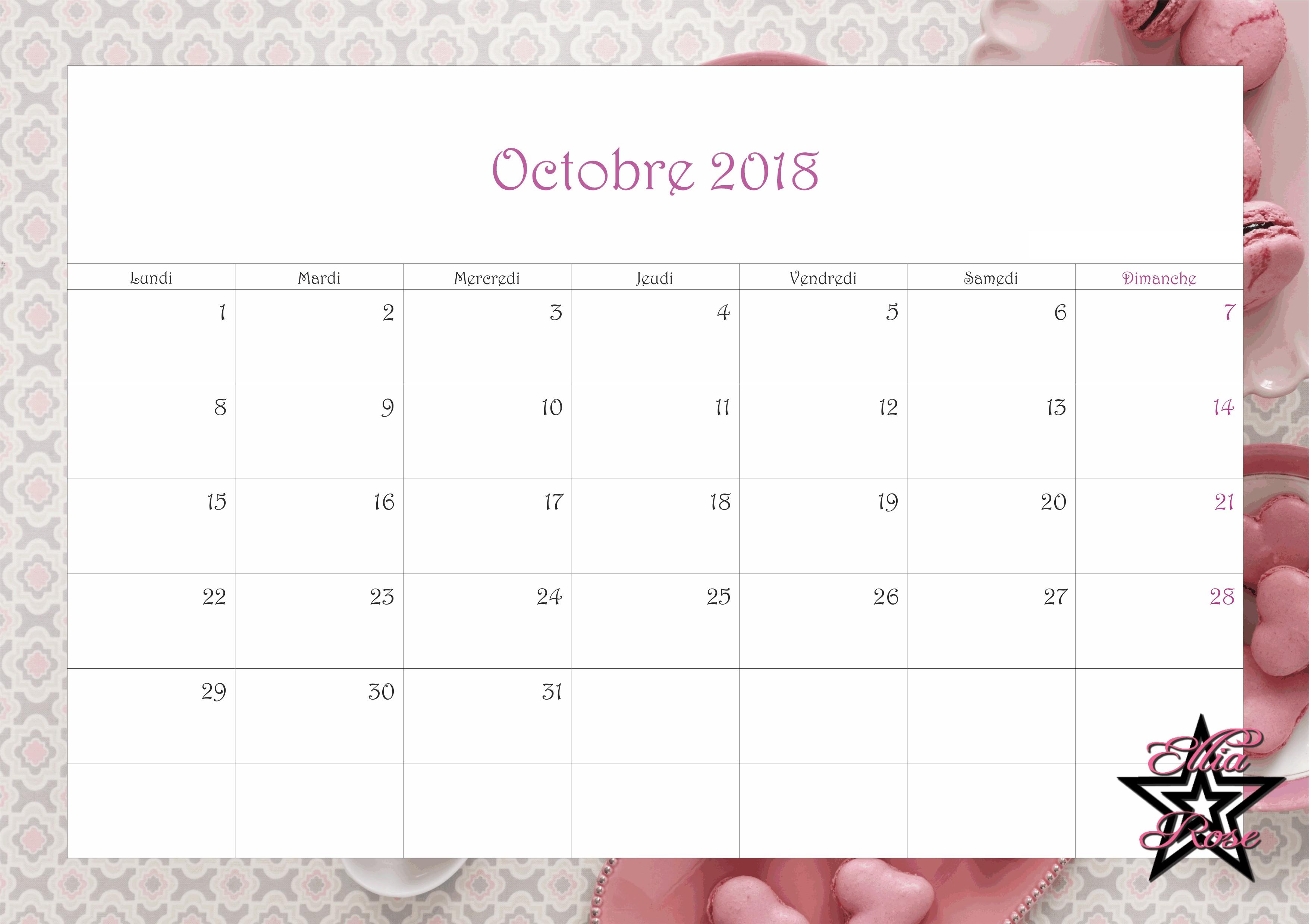 Calendrier Mois Octobre 2018 Calendar 2018