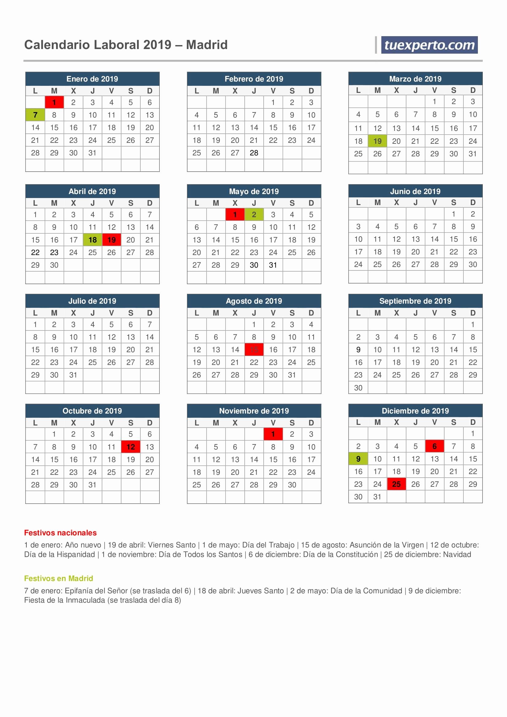 calendario laboral 218 2019 calendario laboral 218 2019 calendario laboral 2019 calendarios con festivos por 1