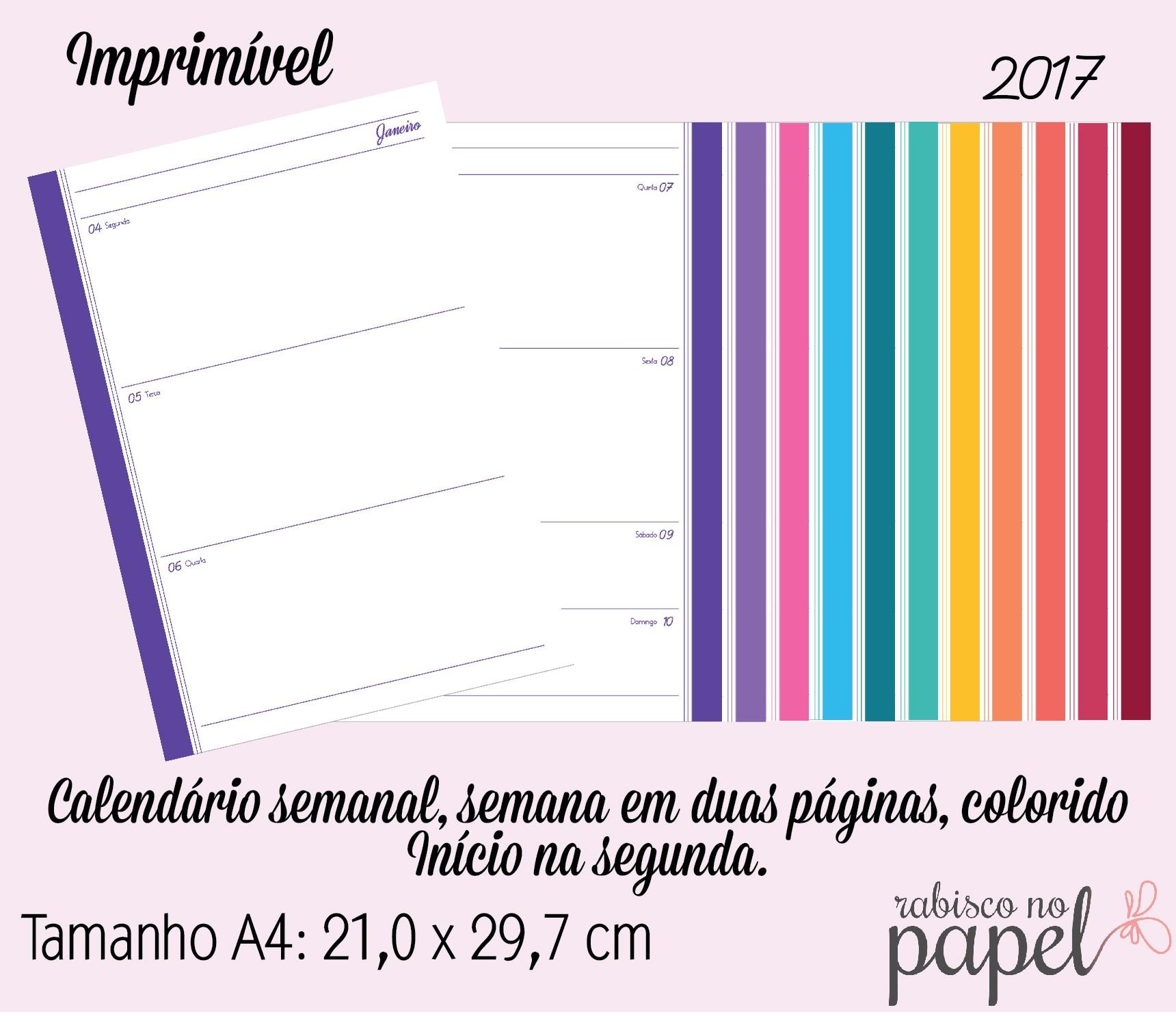 imprimivel agenda semanal 2017 a4 imprimiveis
