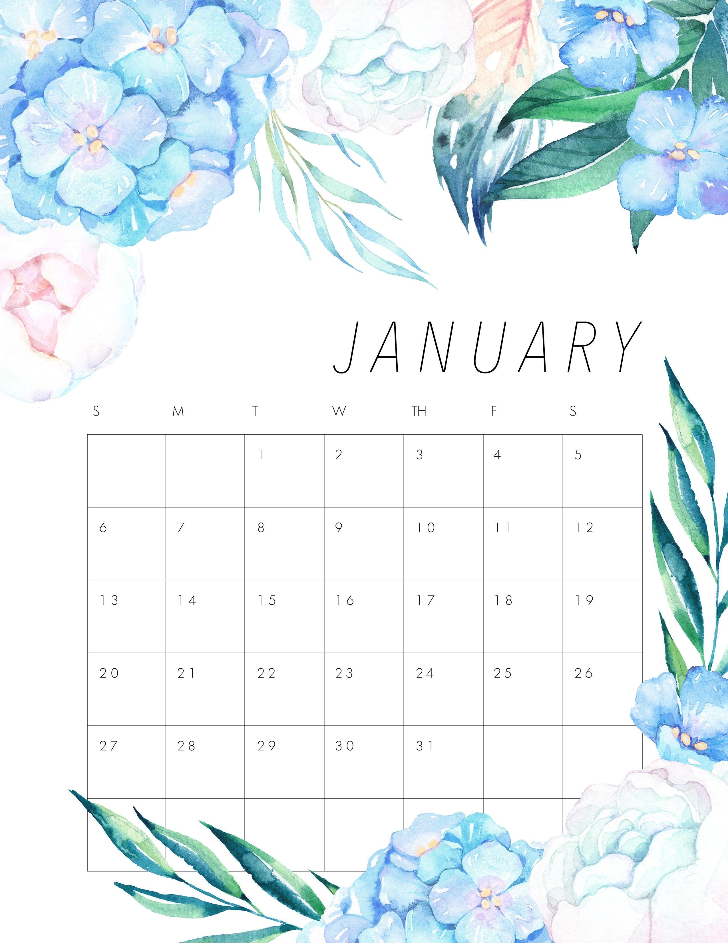 Floral January 2019 Calendar Bujo Calendar 2018 Monthly Cute Calendar 2017 August Month