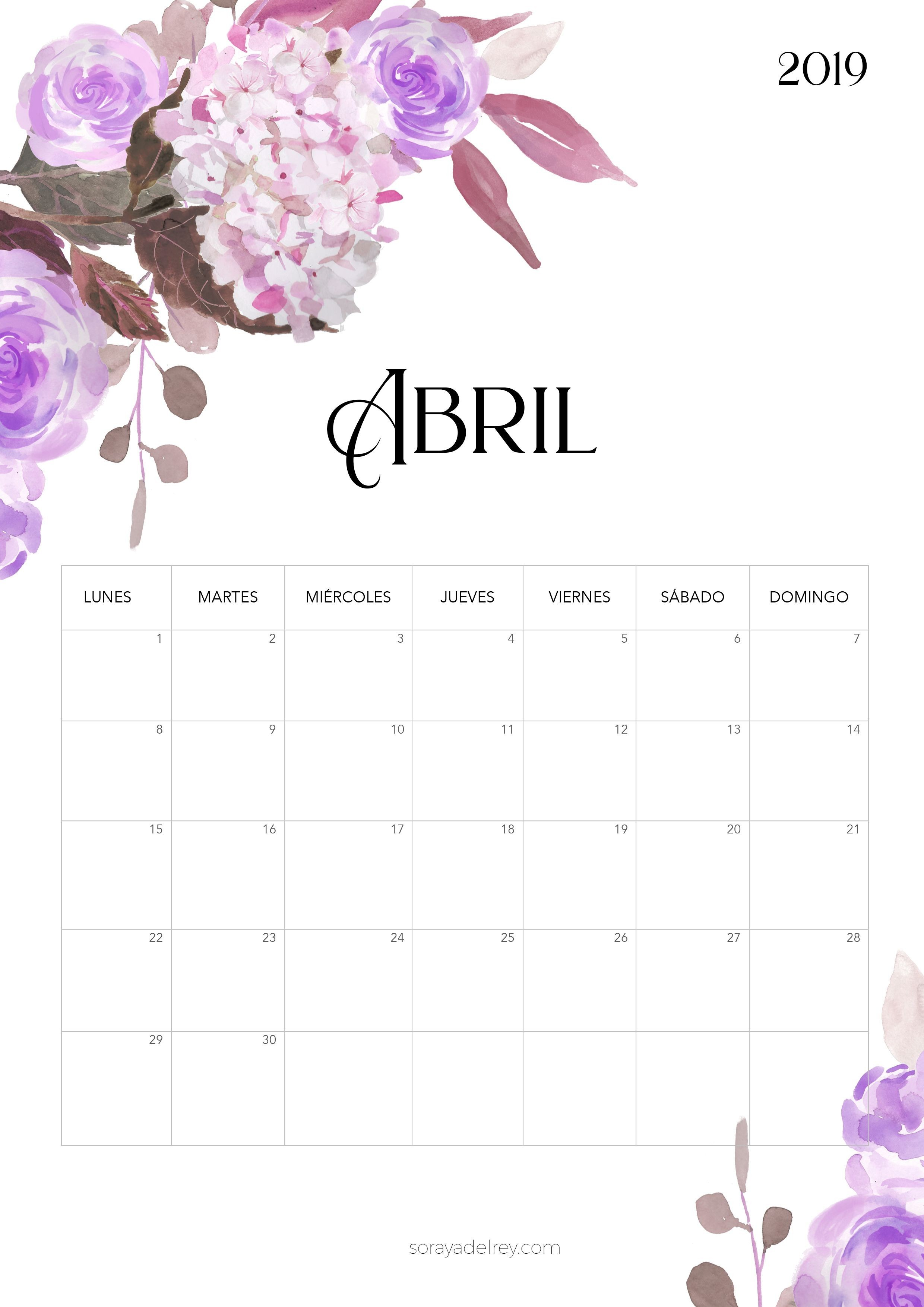 Calendario para imprimir Abril 2019 calendario calendar abril april flores flowers freebie printable imprimir