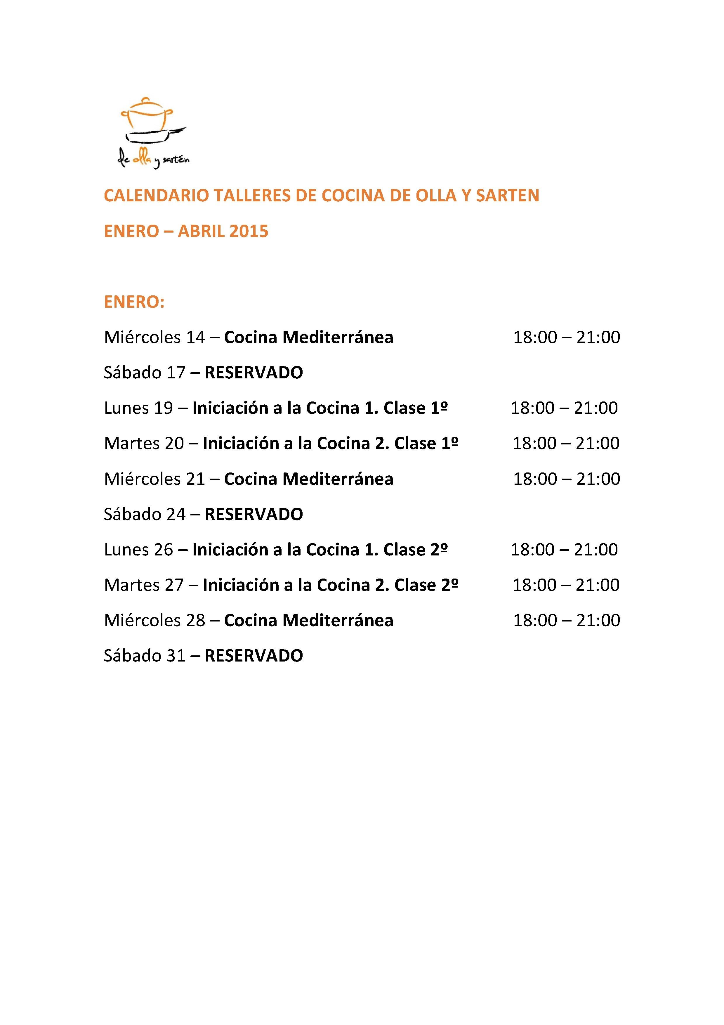 Calendario De Cursos Y Talleres Enero Abril 2015 Escuela De