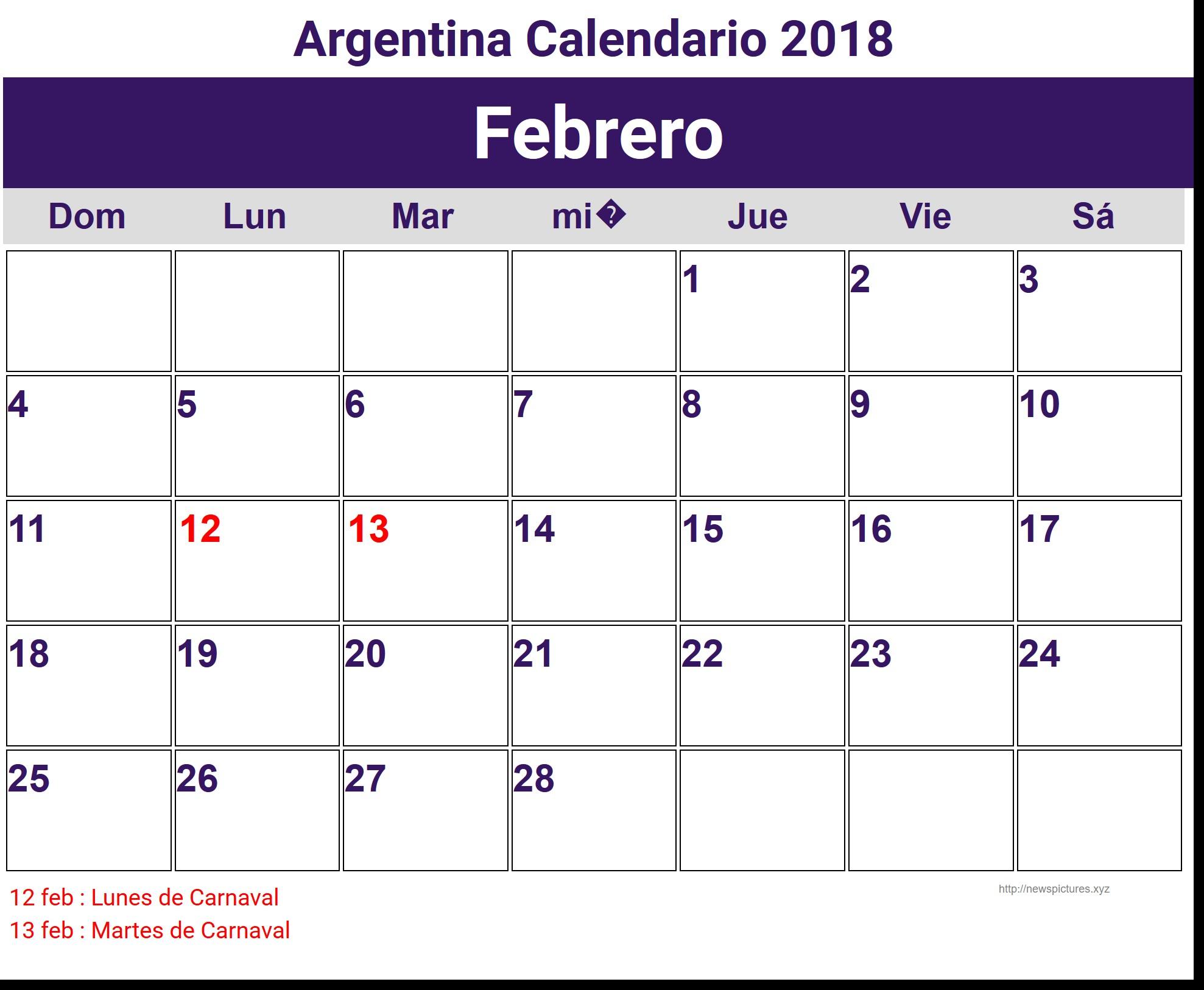 Image for Febrero Argentina Calendario 2018