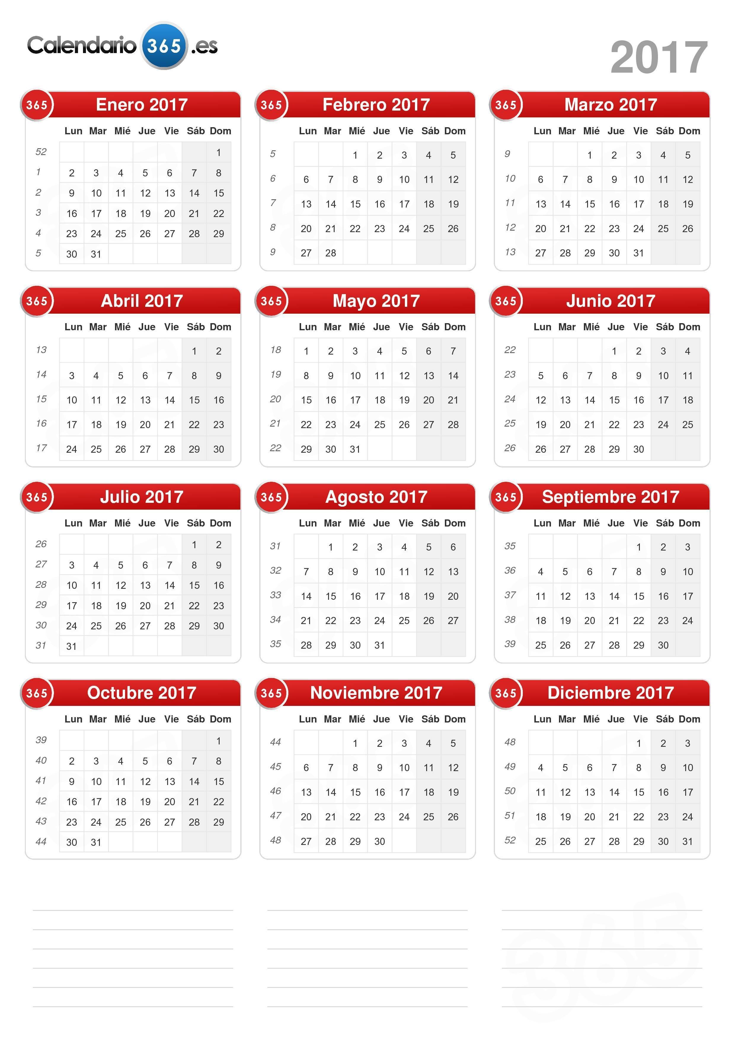 Calendario todo El Año 2019 Para Imprimir Más Recientes Calendario 2017