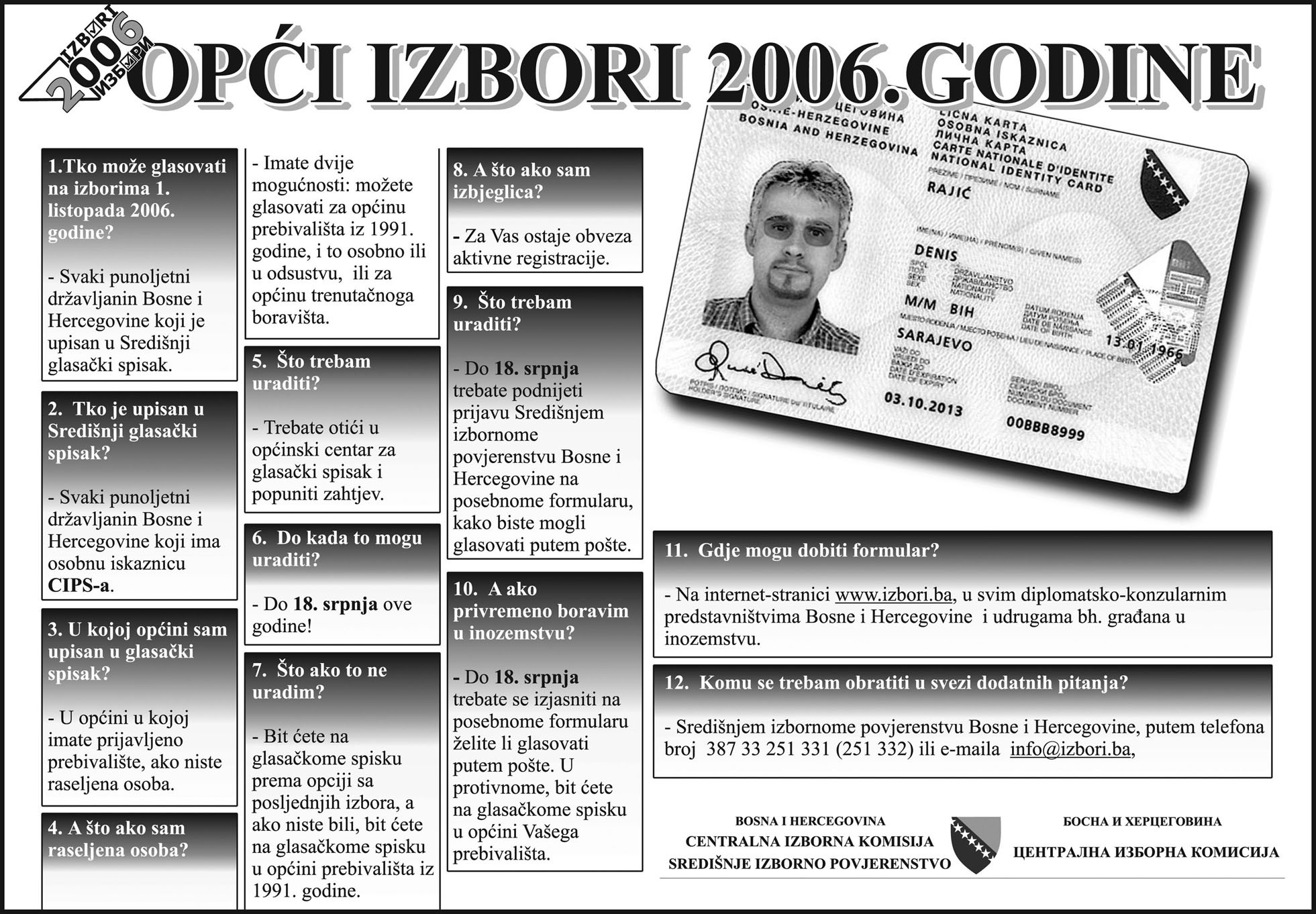 How to vote poster from the general elections of Bosnia and Herzegovina 2006