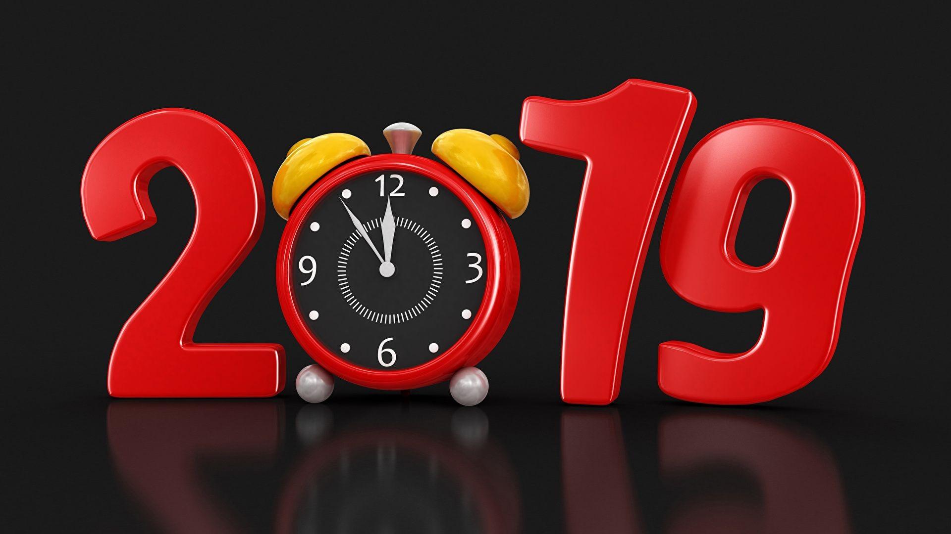 A±o Nuevo Reloj Reloj despertador Fondo negro 2019 3D