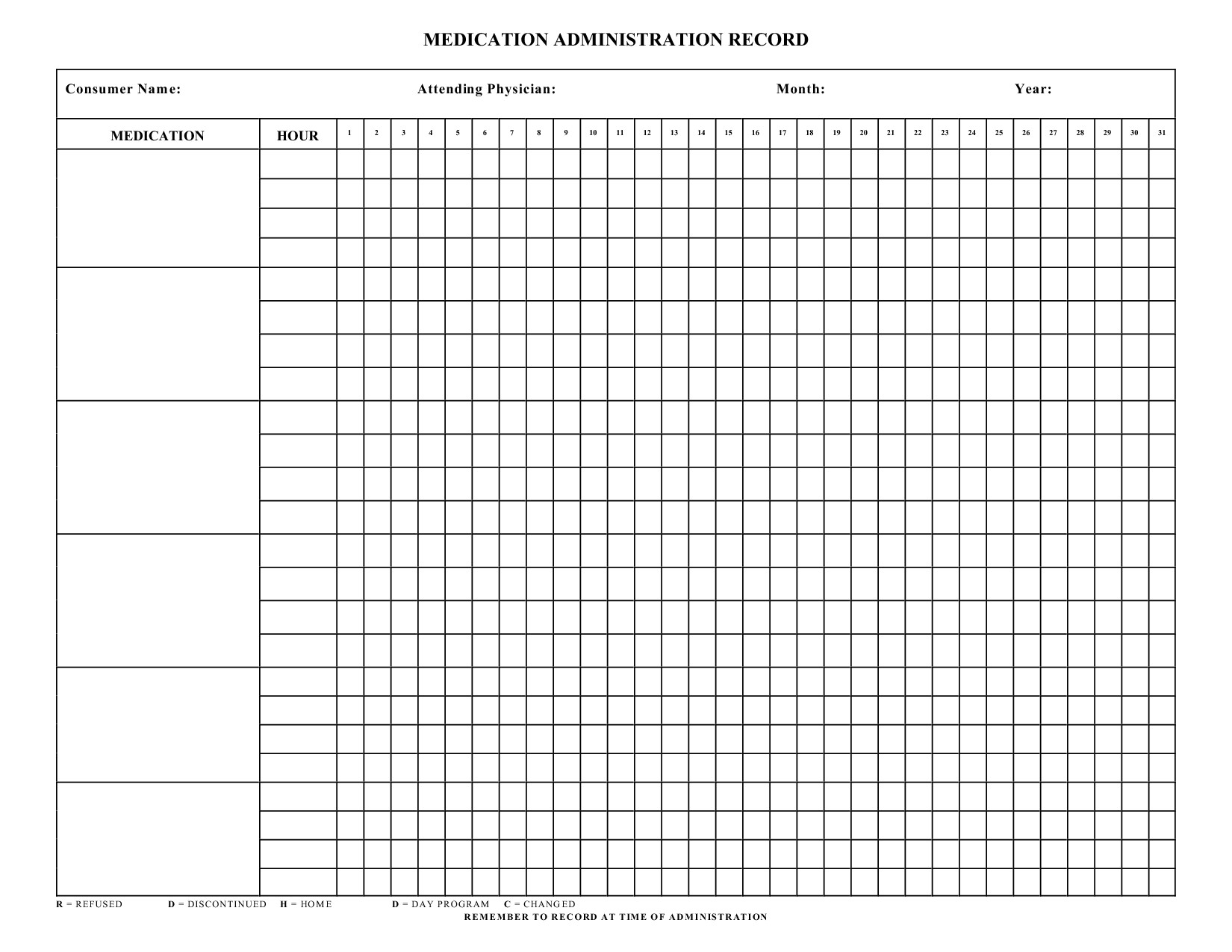 Home Medication Chart Template Blank Medication Administration Record Template…