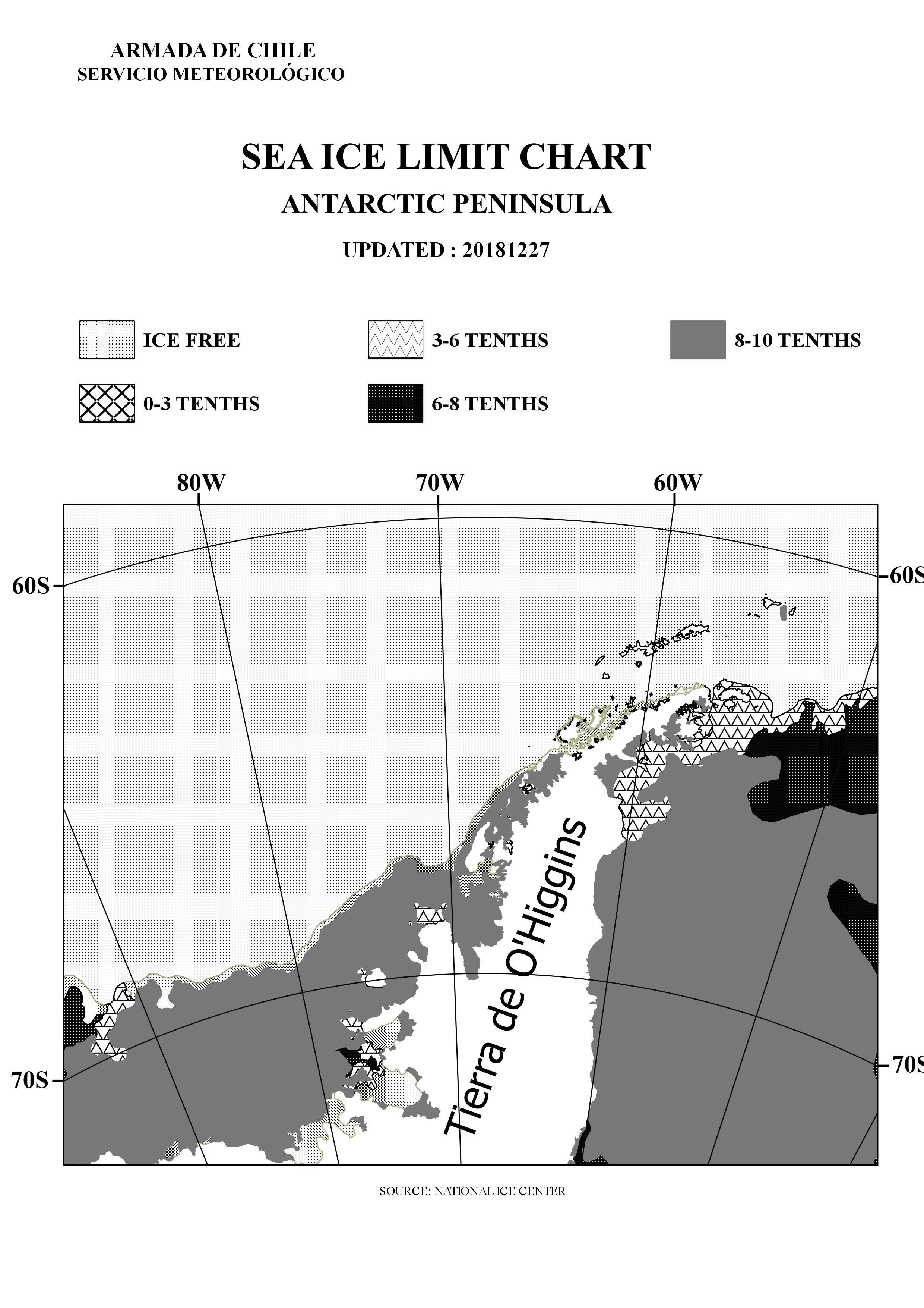 Antarctic Penninsula B&W sea ice limit chart