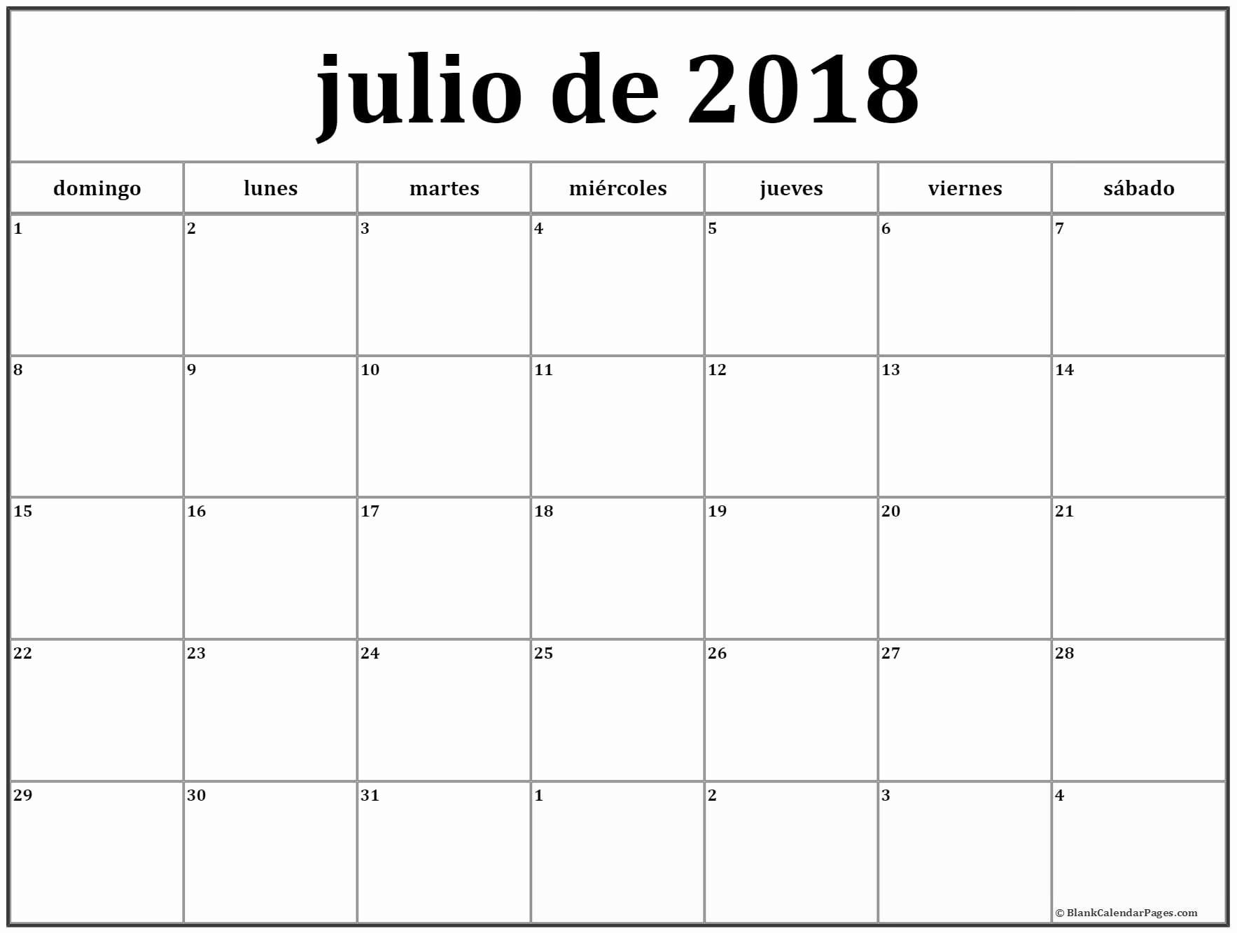Calendario 2019 Julio Julio De 2018 Calendario Gratis Calendario De