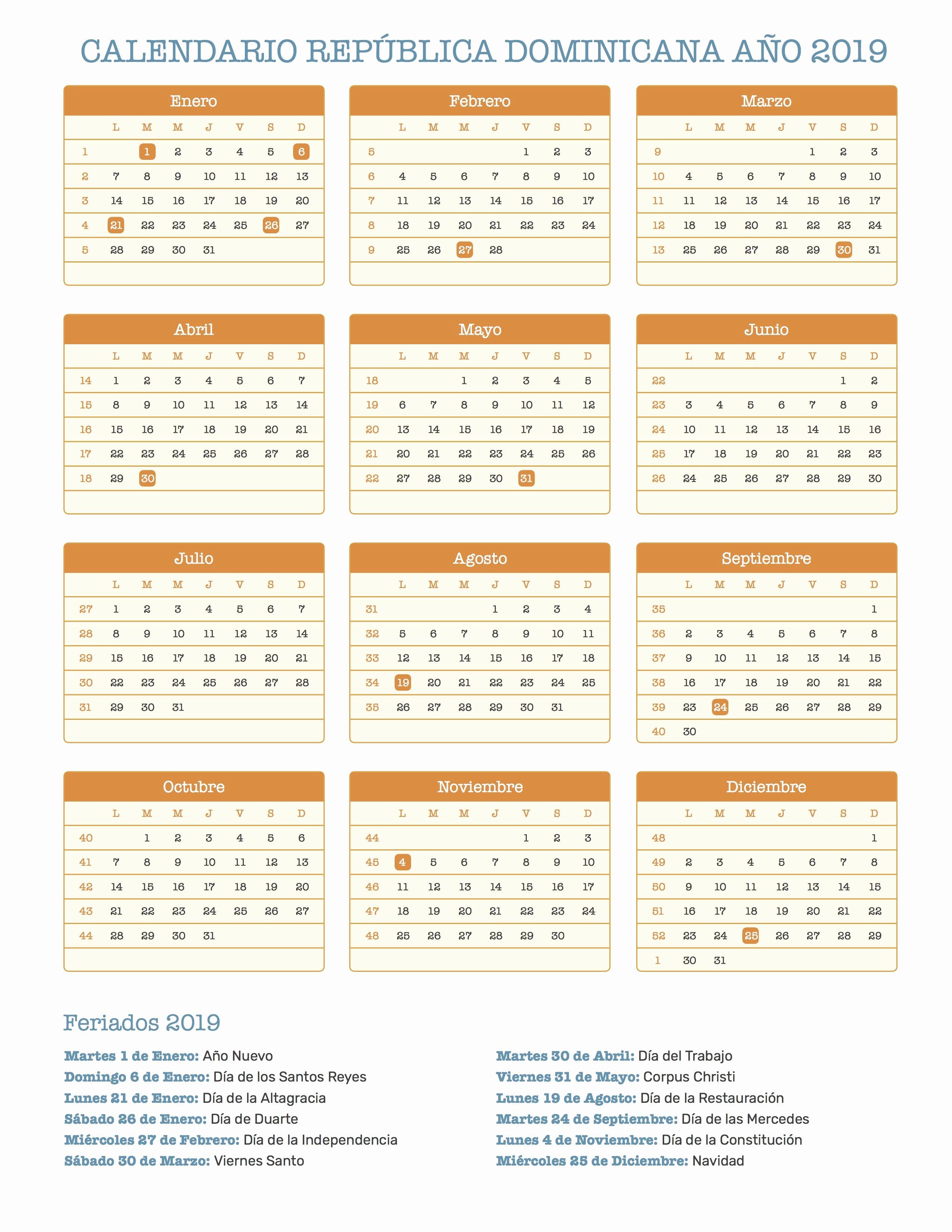 Etsidi Calendario 2019 Calendario Republica Dominicana Ano 2019 Feriados
