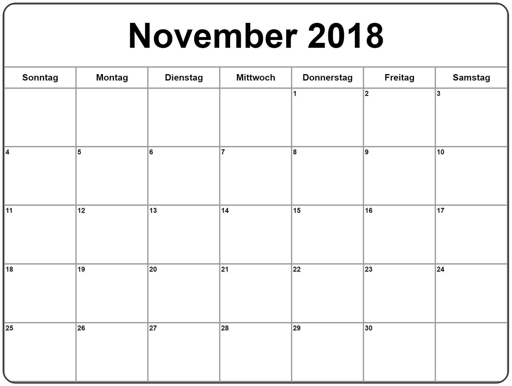 Kalender November 2018 Zum Ausdrucken Chile Kalender November