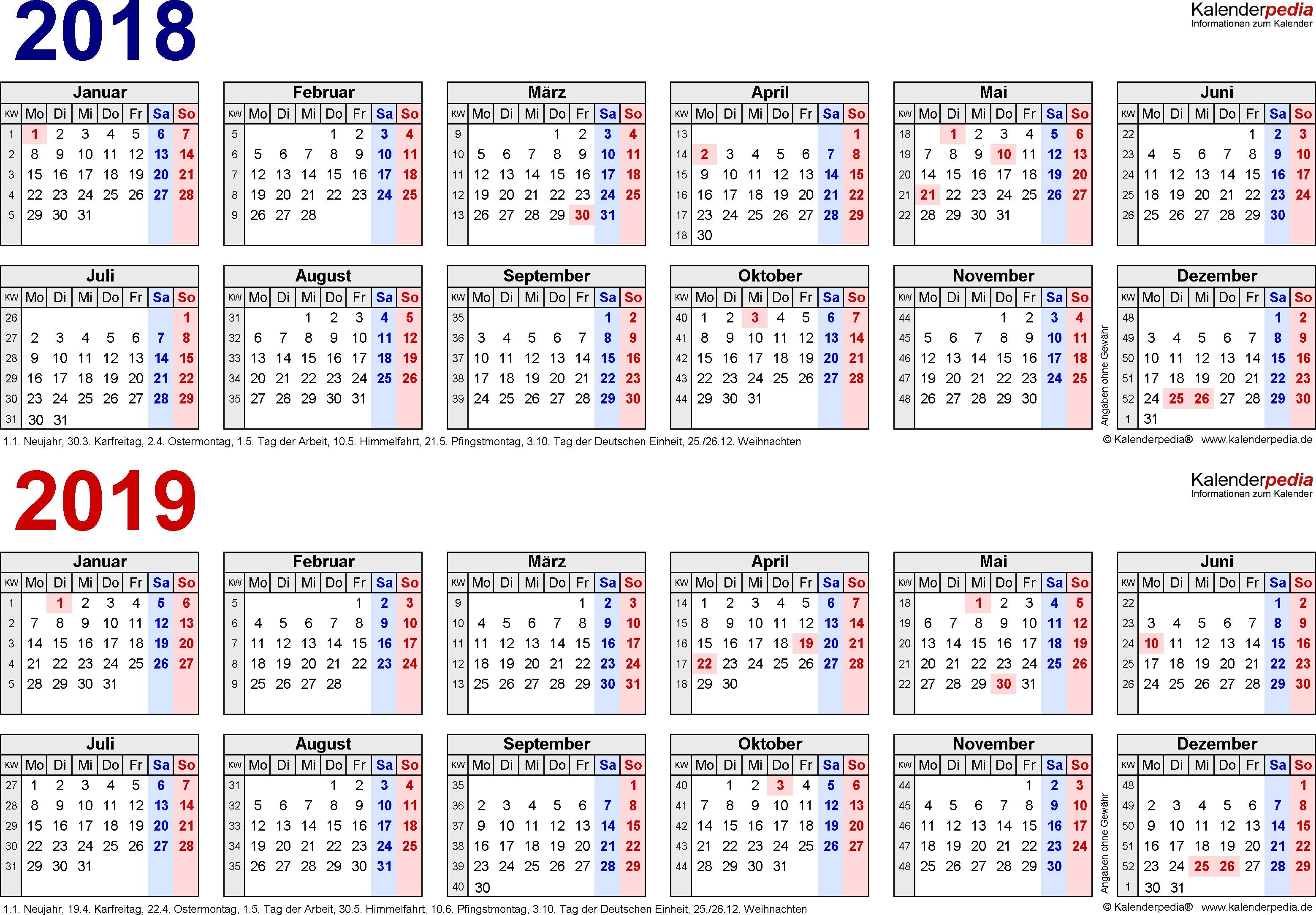 Zweijahreskalender 2018 2019 Als Pdf Vorlagen Zum Ausdrucken