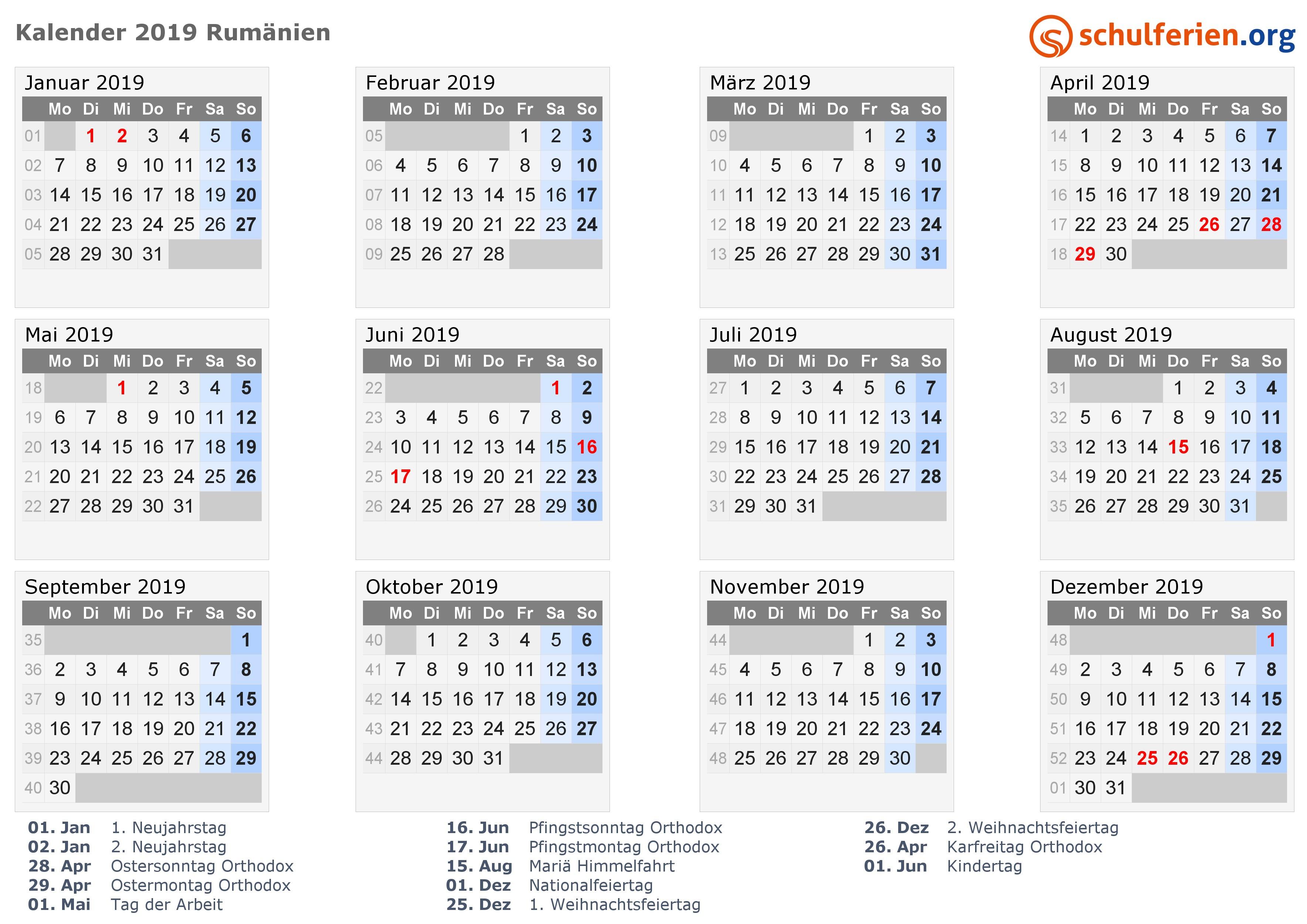Kalender 2019 Rumänien mit Feiertagen