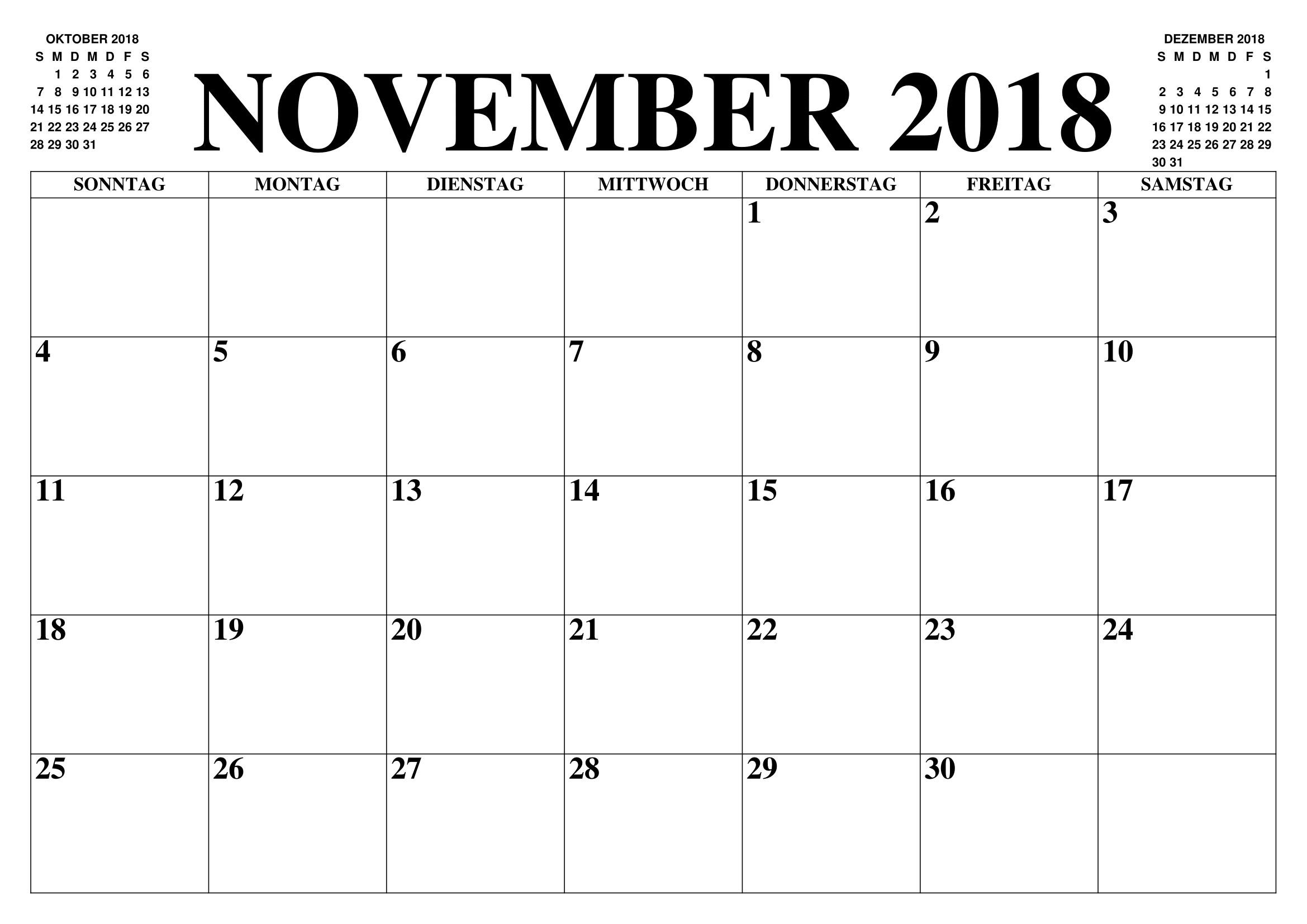 Kalender November 2018 Zum Ausdrucken Pdf Word Excel