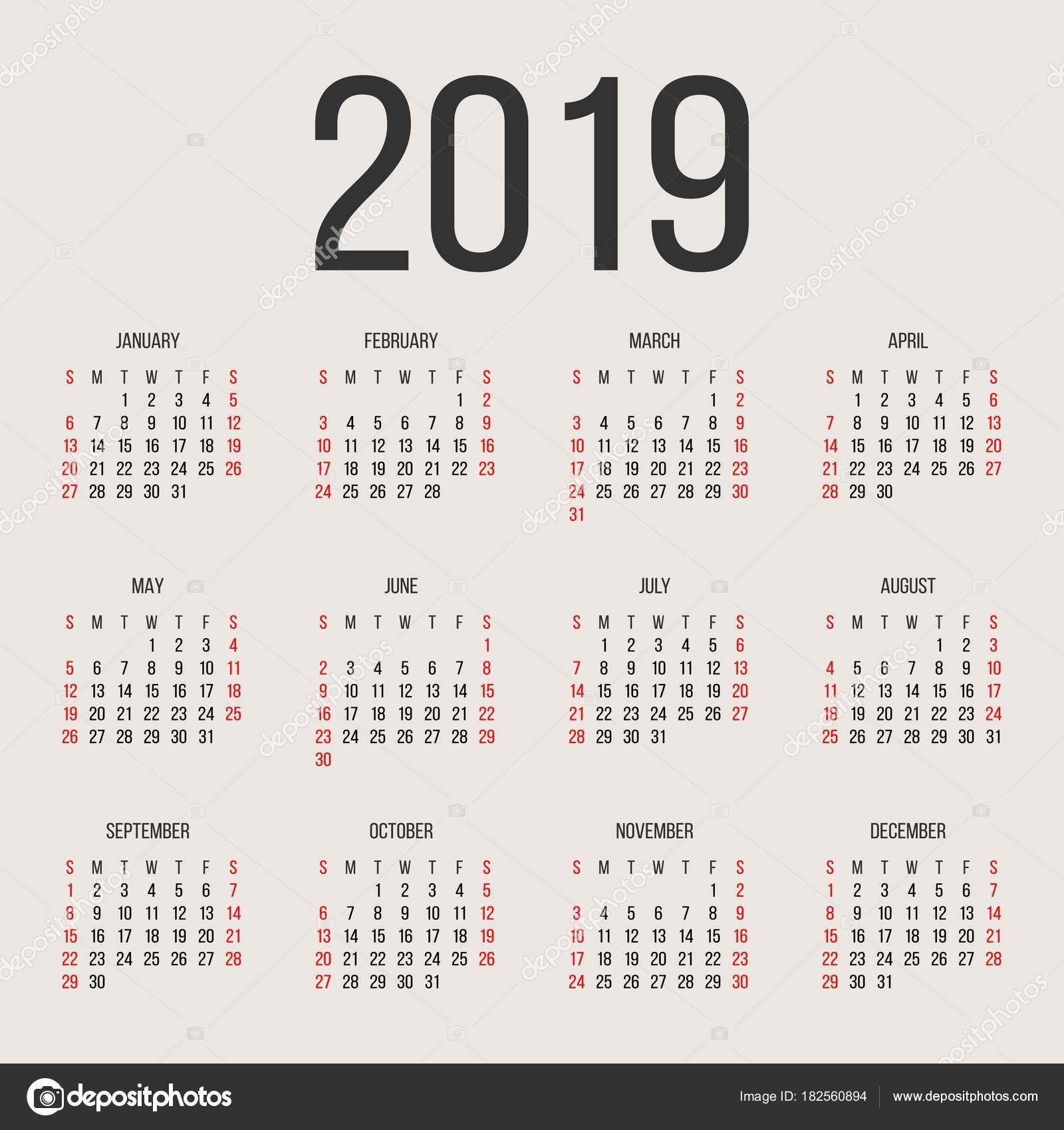 Kalendarzowy 2019 roku wektor szablon projektu Rok kalendarzowy 2019 proste Wektor ko…'o kalendarzowy