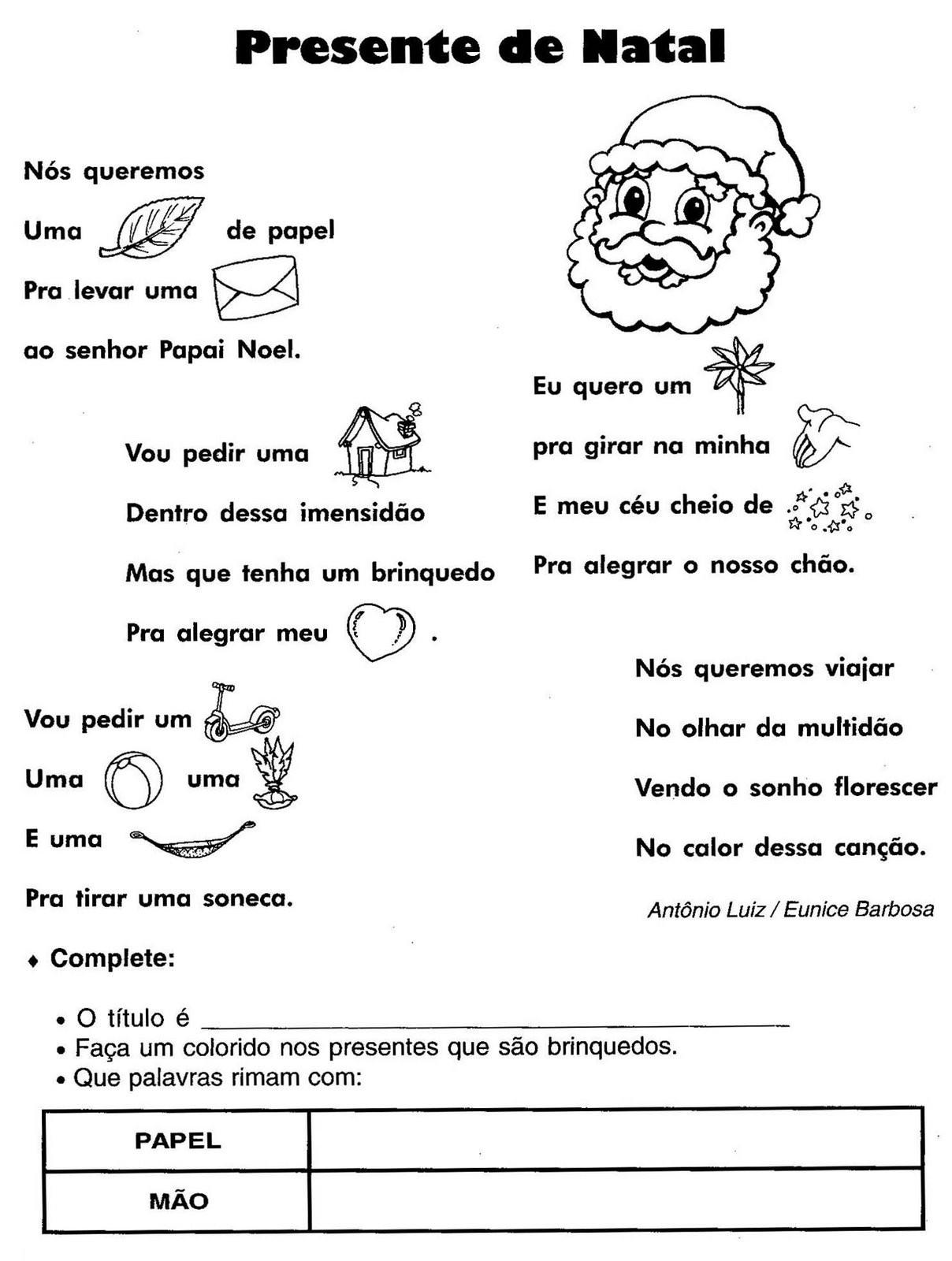 atividade natal ensino infantil