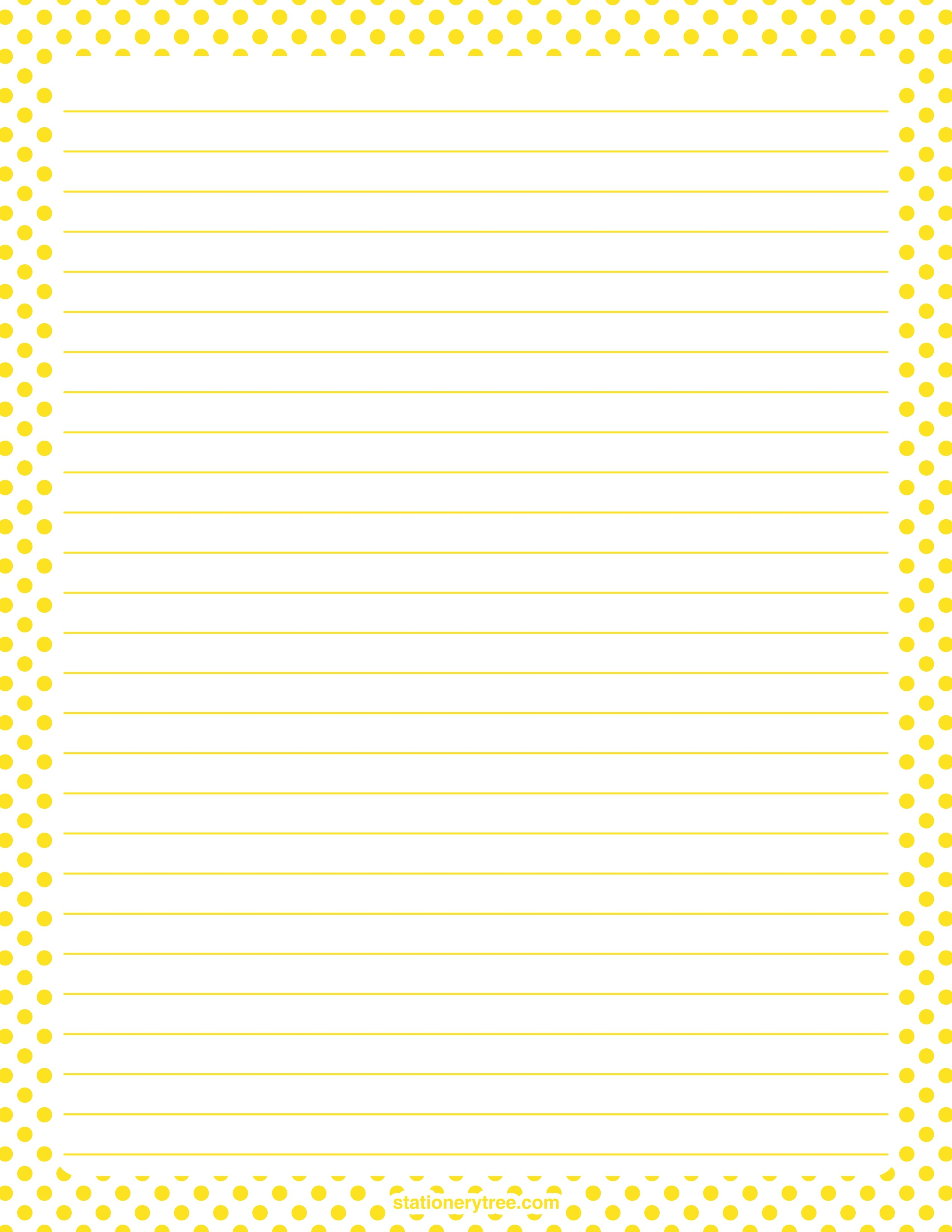 Printable yellow and white polka dot stationery and writing paper Multiple versions available with or