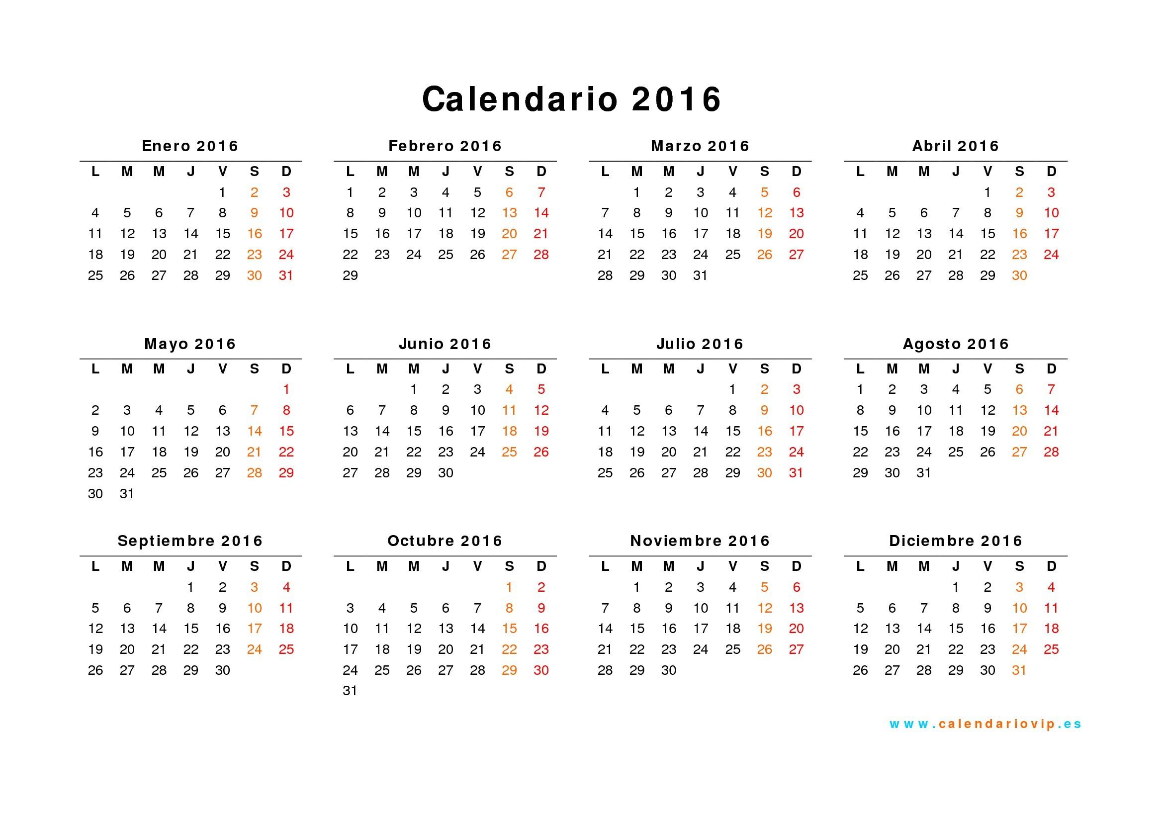 2019 para imprimir excel Calendarios anuales 2016 04