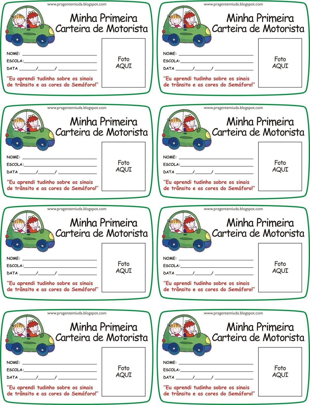 Carteira de motorista para imprimir e trabalhar em projetos de educa§£o infantil sobre educa§£o no tr¢nsito