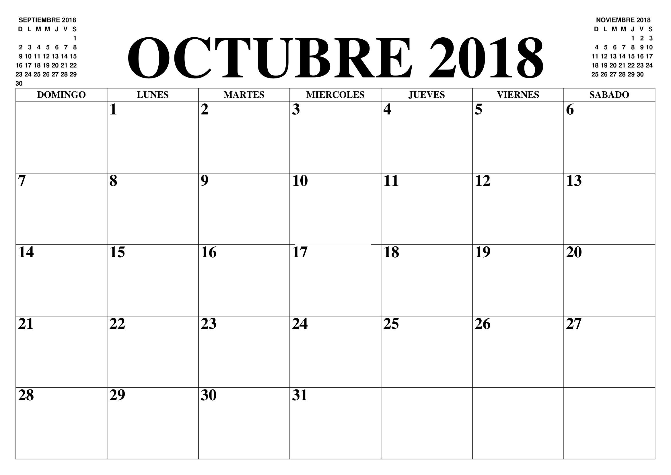Mes octubre 2018 descarga Calendario Mes De Octubre 2018 Gratis