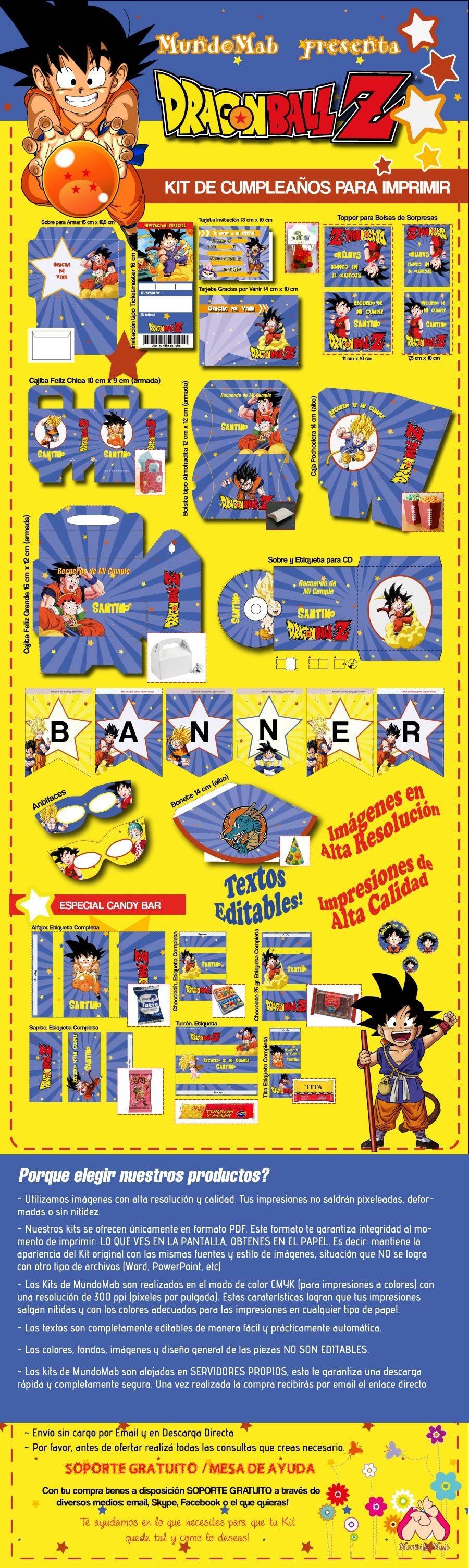 Set de cumplea±os para imprimir Dragon Ball incluye tarjetas de invitacion cotillon y etiquetas