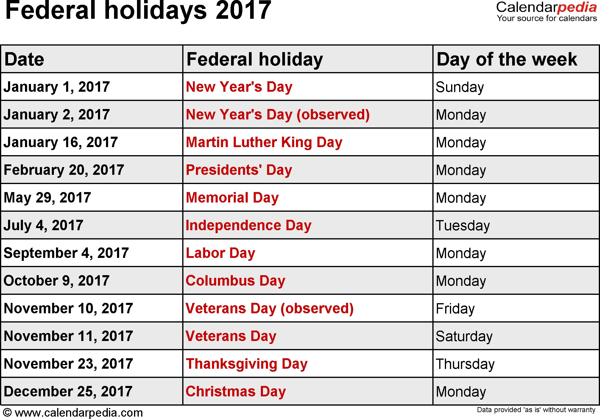 Public Holidays 2017 USA