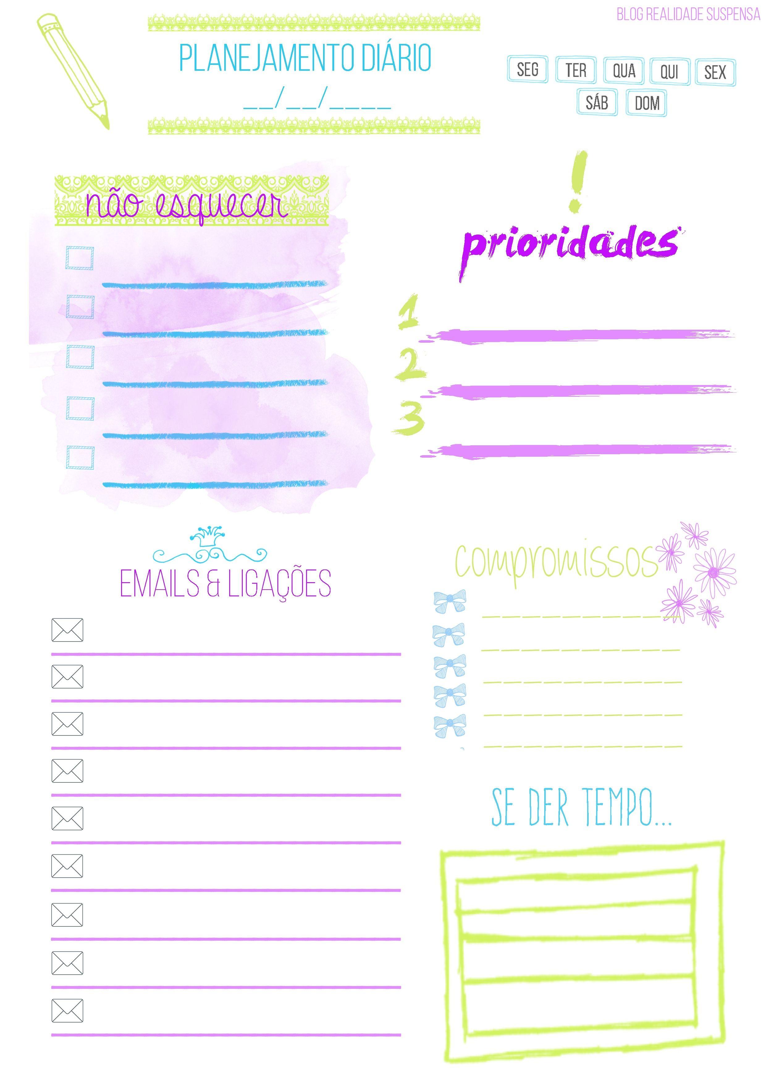 Imprimir · Organizar · Organiza§£o de planejamento diário feita por mim para impress£o A4 Planer Diario Agenda Calendario