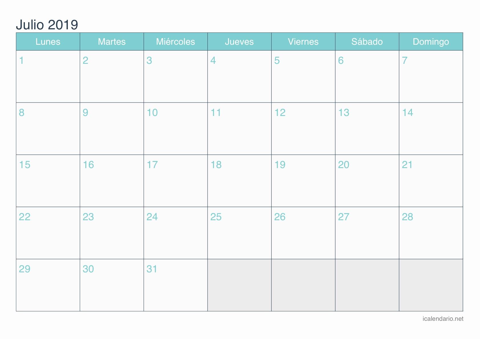 Rallylink Calendario 2019 Calendario Julio 2019 Para Imprimir Icalendario Net