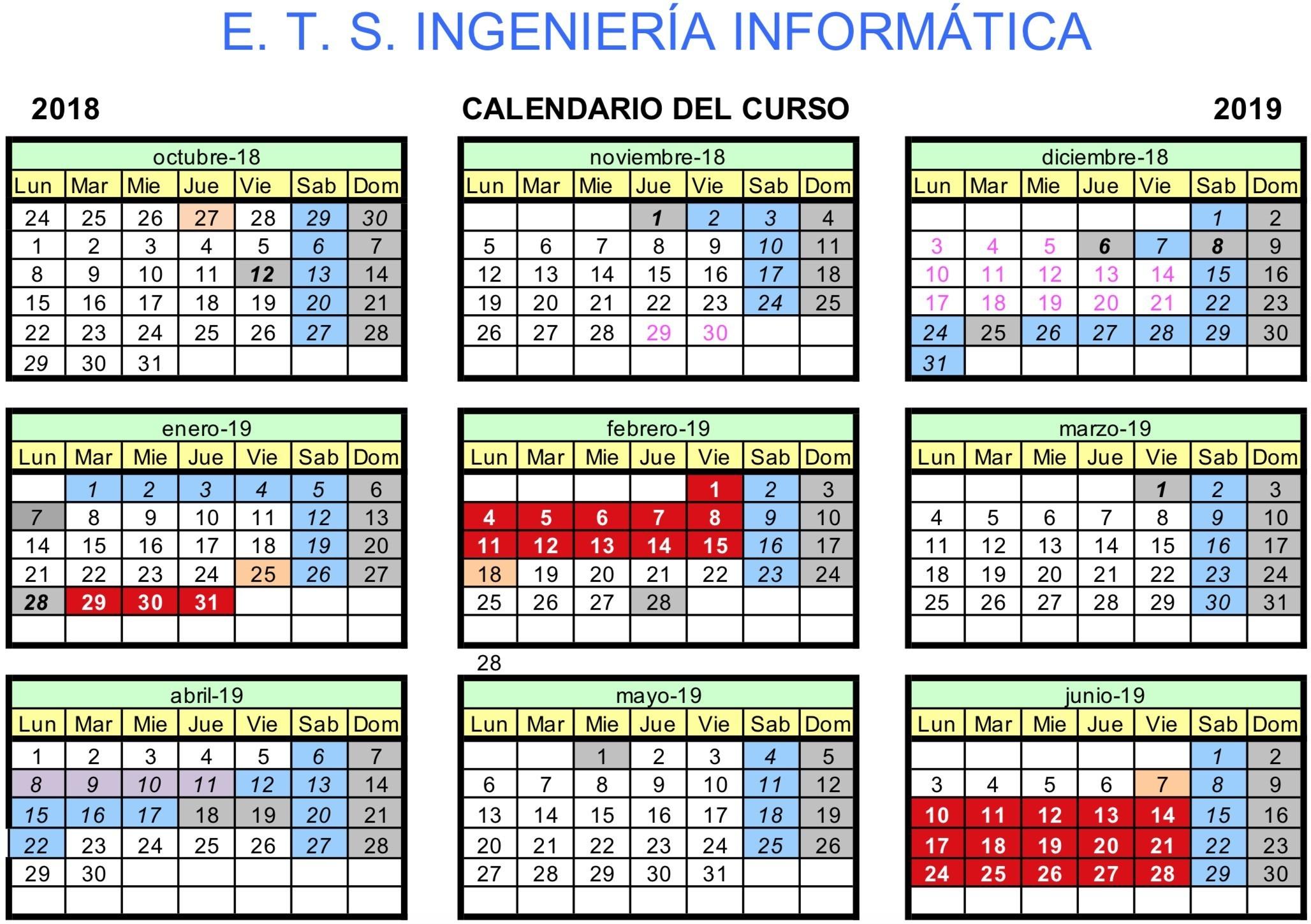 ETSI Informática calendario grados 2018 19 1