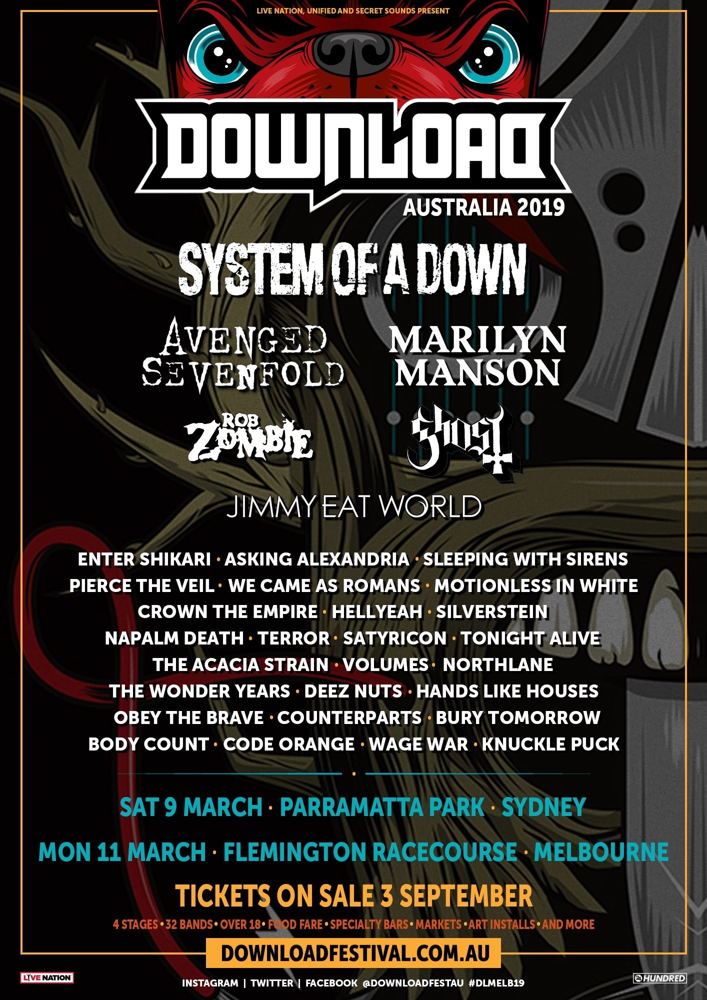 Yep That Download Festival Australia 2019 Lineup Poster Is Fake to expand