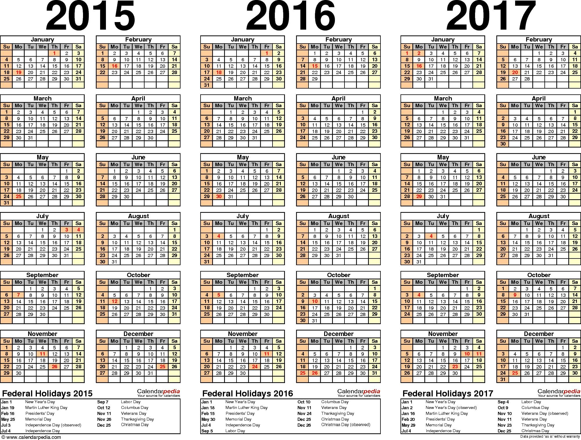 Imprimir Calendario Excel 2019 Más Reciente 2015 2016 2017 Calendar 4 Three Year Printable Pdf Calendars