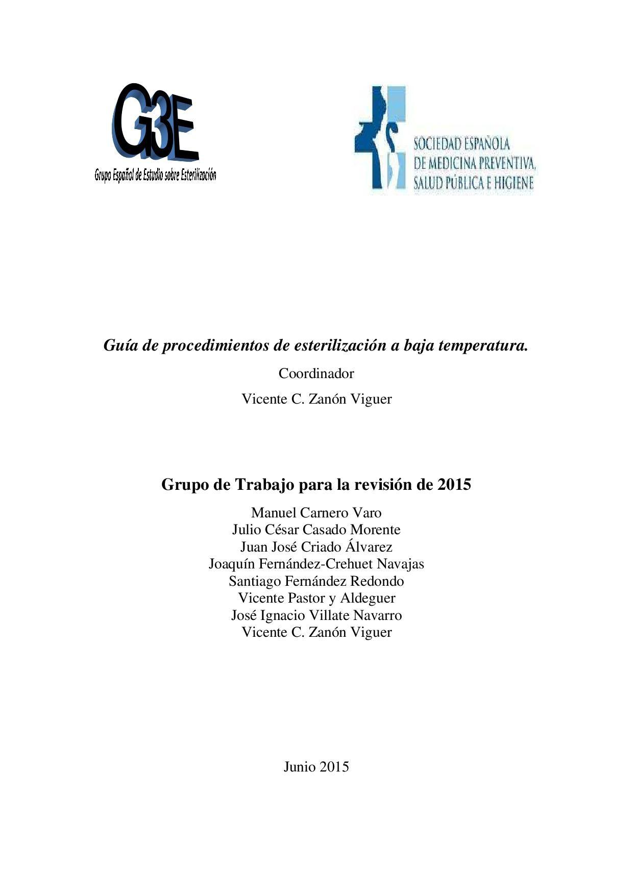 Disponible para los socios la nueva Gua sobre Procedimiento de Esterilizaci³n en Fro