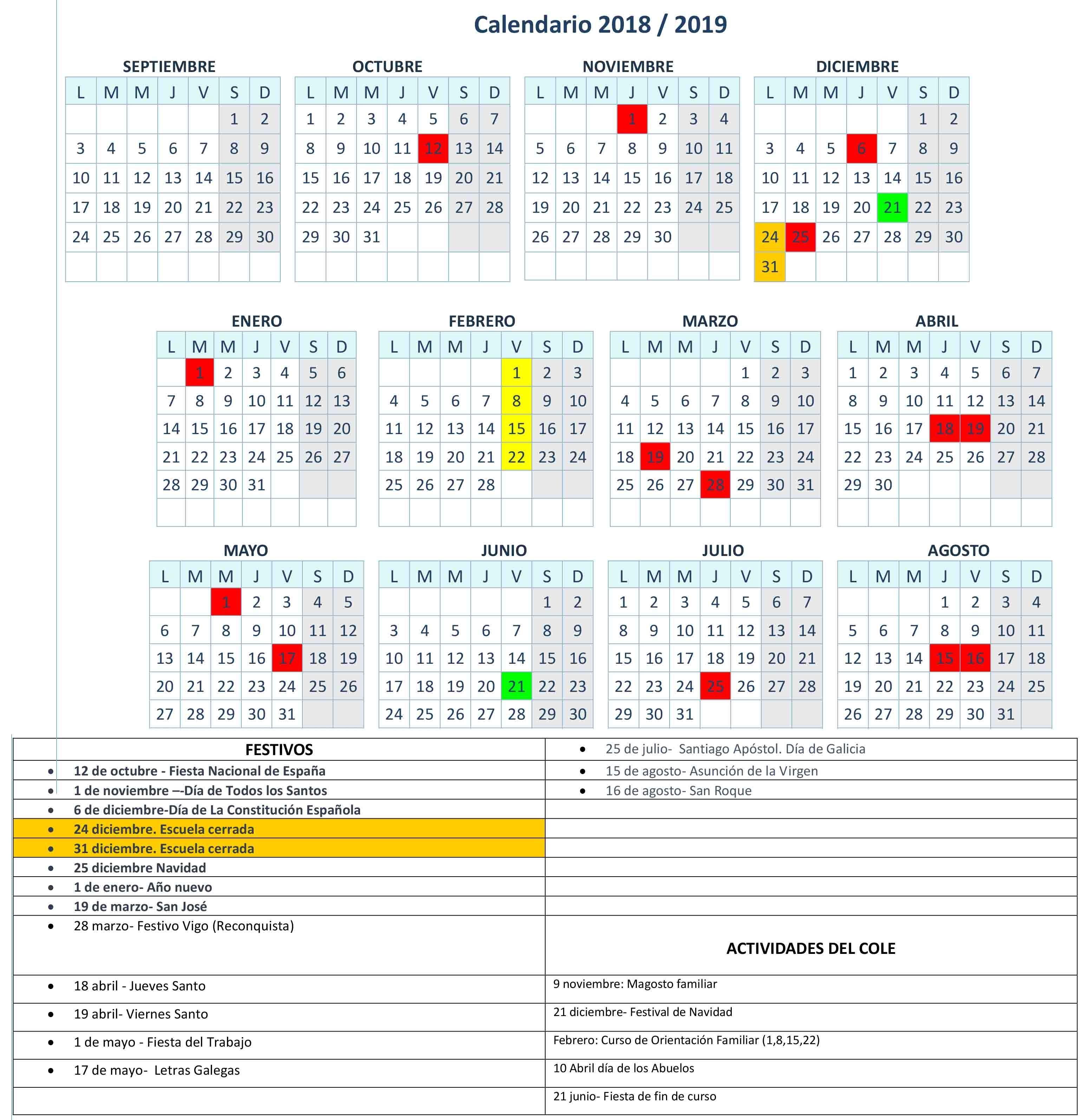 Horario Y Calendario A Camelia