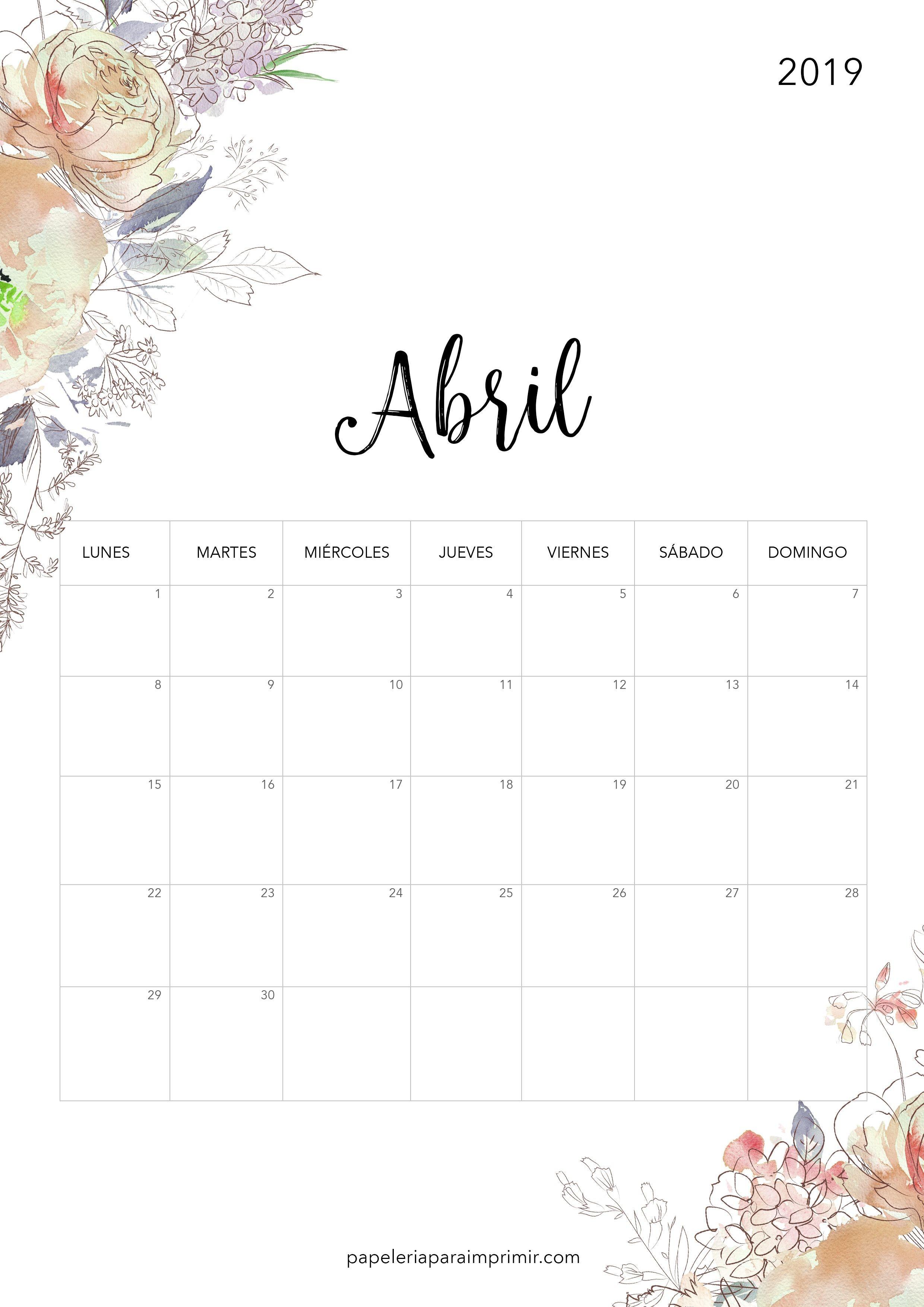 Calendario para imprimir 2019 Abril calendario imprimir printable freebie bonito