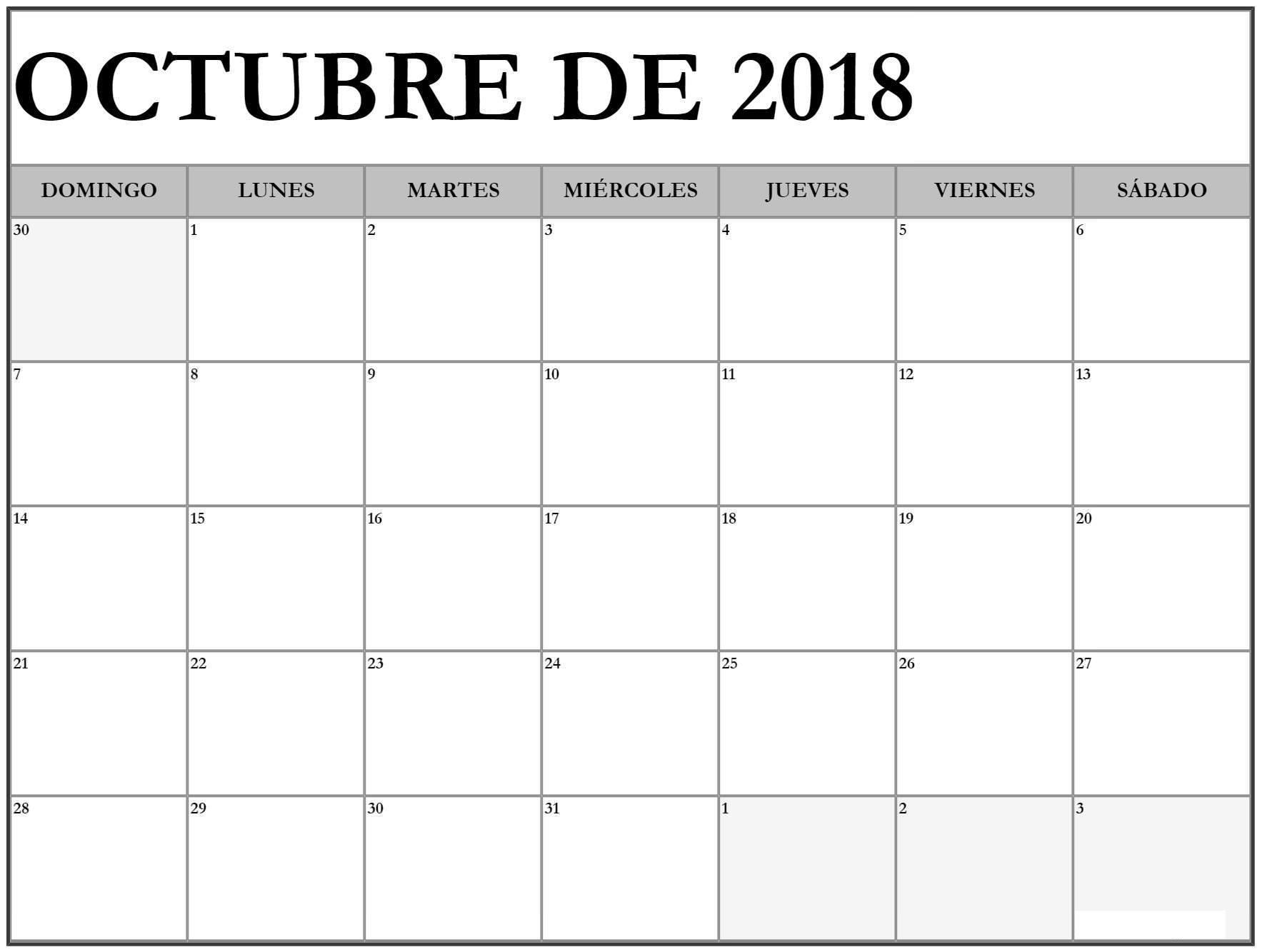 Calendario Mes De Octubre 2018 Word