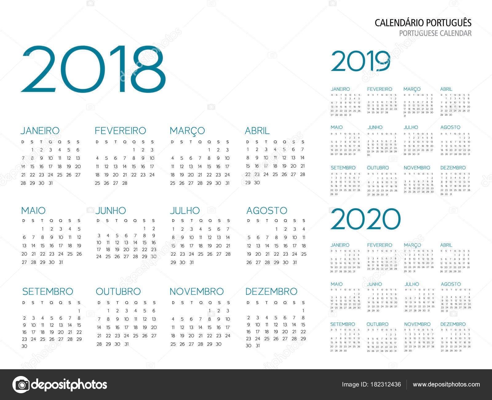 """calendario 2019 imprimir portugues Portugalsk½ kalendá…â""""¢e m…â""""¢…¾ky 2018 2019 2020 vektorové ilustrace obrysové psmo je Armata"""