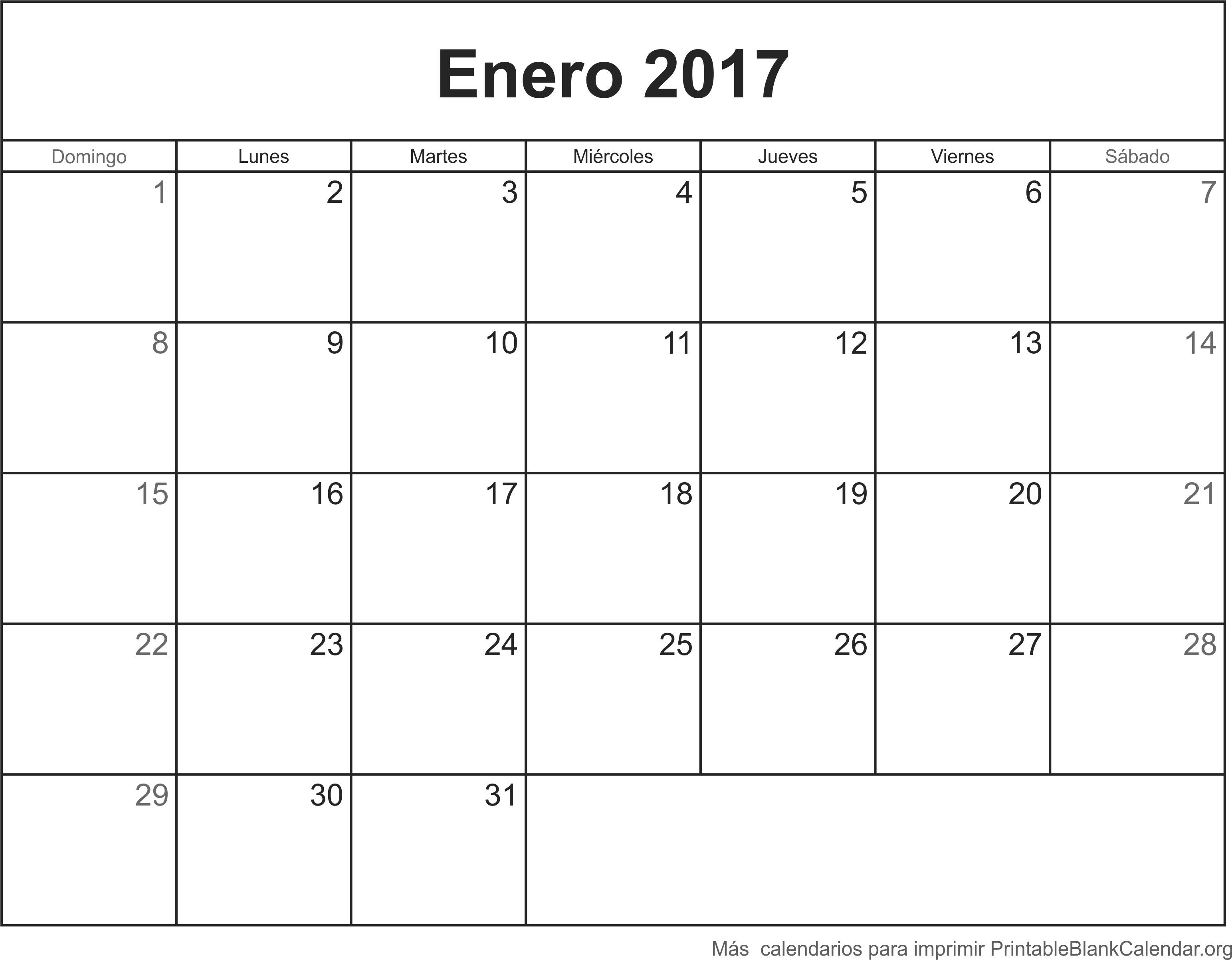 calendario ener 2017 para imprimir calendarios