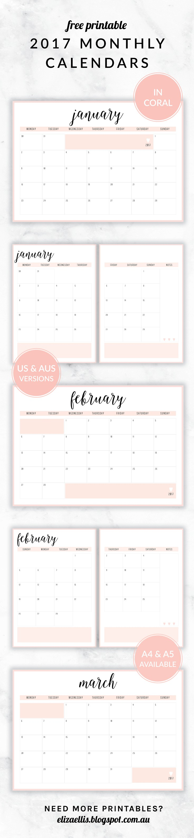 Imprimir Calendario Semanal 2017 Más Actual Free Printable 2017 Irma Collection Monthly Calendars by Eliza Of Imprimir Calendario Semanal 2017 Mejores Y Más Novedosos ✧pin & Insta Ninabubblygum✧ Portadas