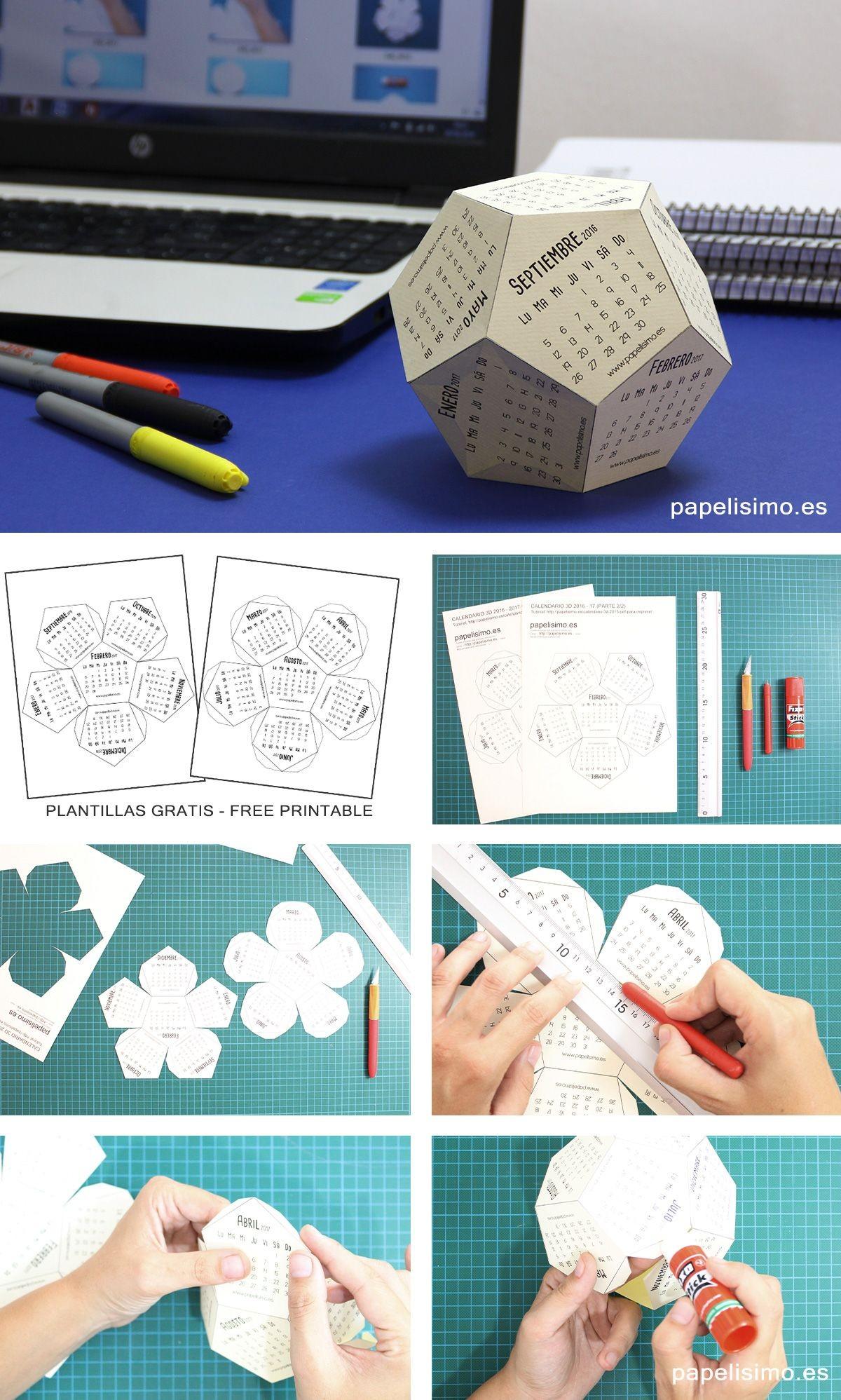 Calendario escolar 3D 2016 2017 de papel listo para descargar imprimir recortar y pegar Plantillas imprimibles dos archivos diferentes en pdf