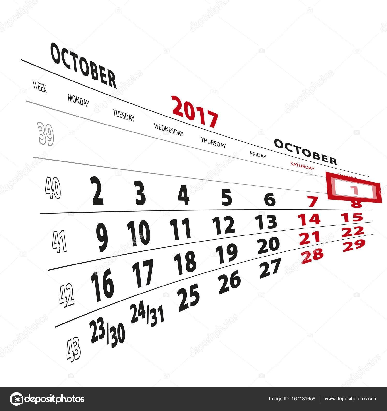 De octubre en calendario la semana ienza en el lunes ilustraci³n de vector de boldg