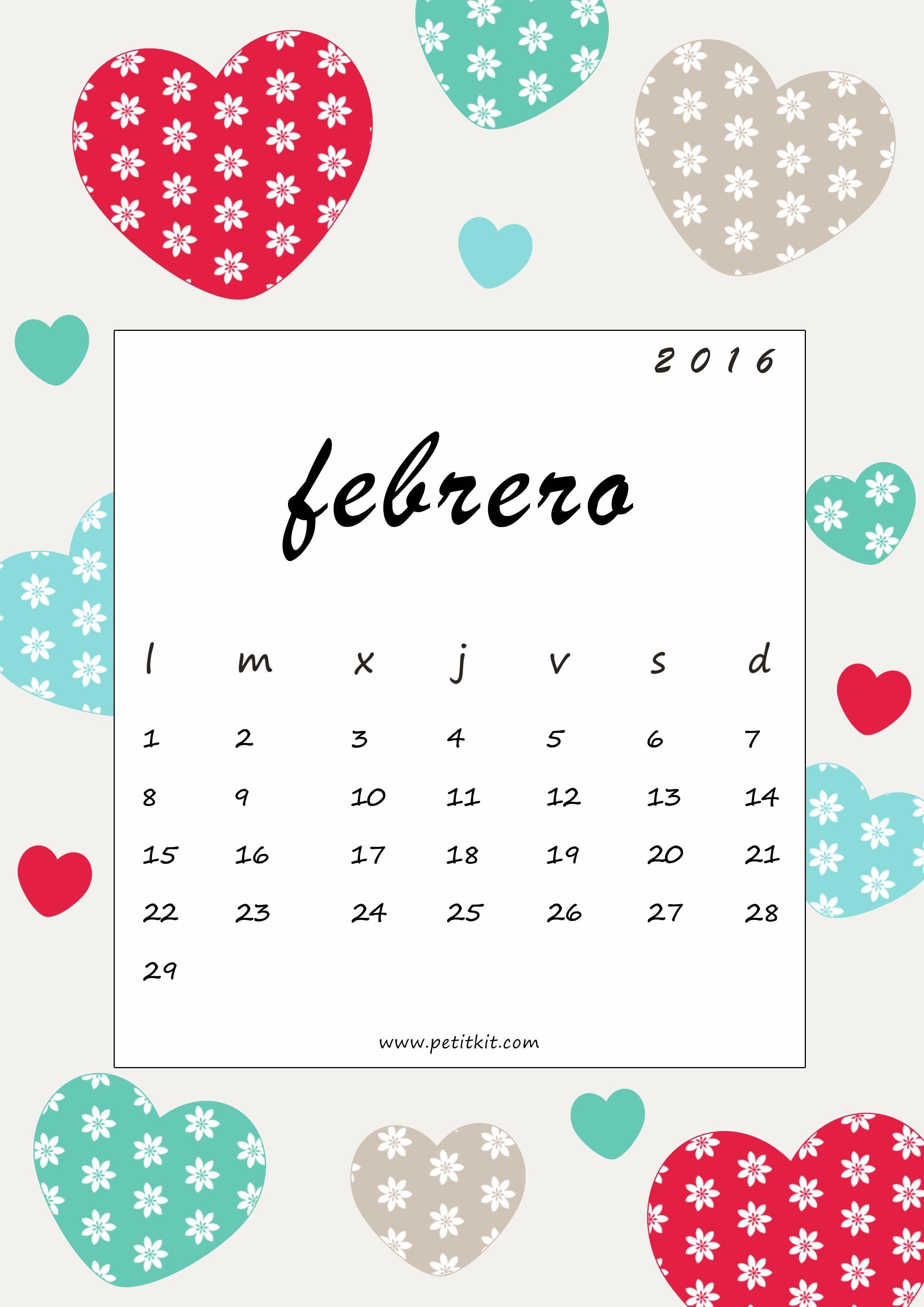 Calendario imprimible fondo de pantalla febrero gratis