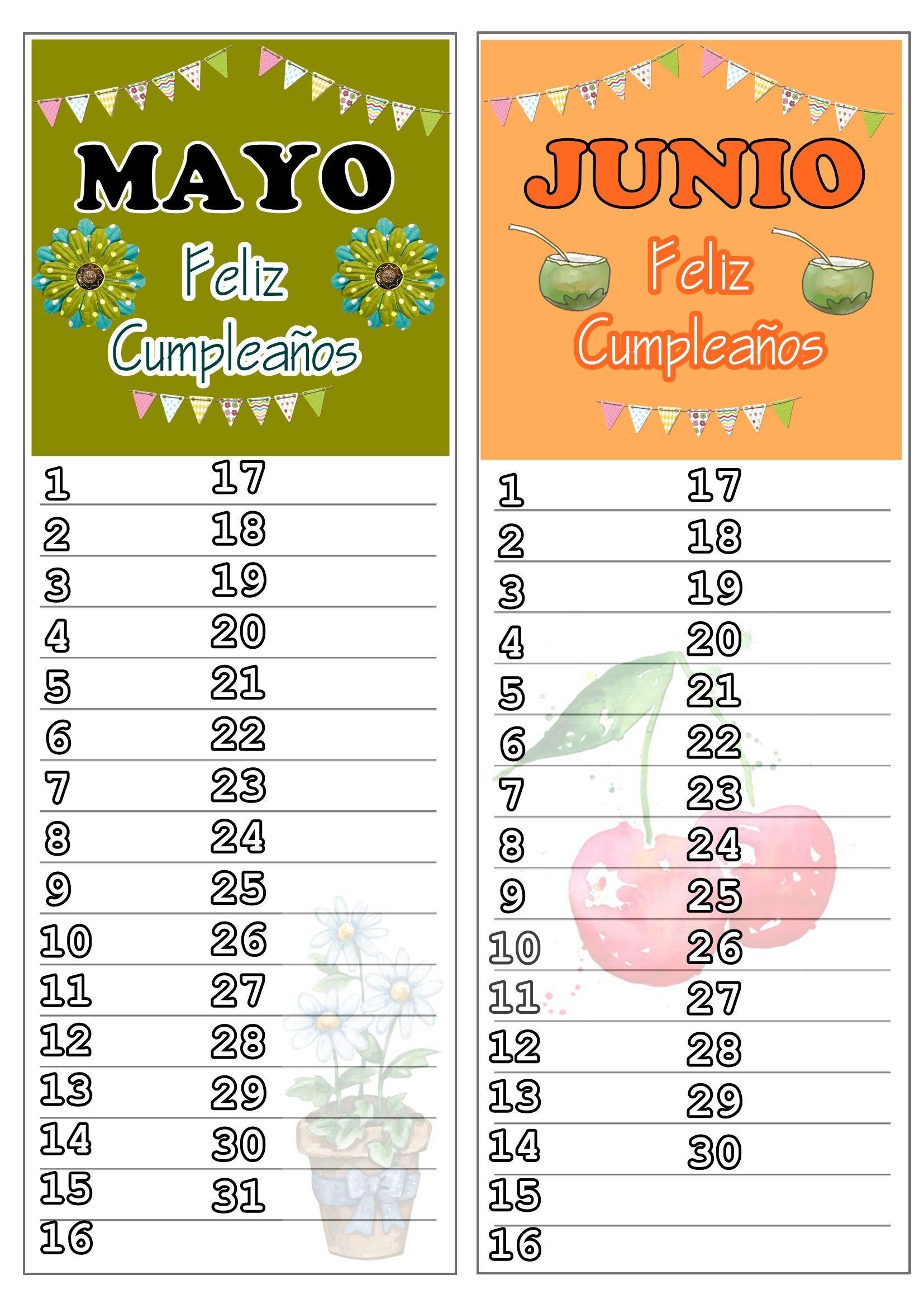 Mayo Junio 2015 Feliz Cumplea±os Happy Birthday Classroom Organization