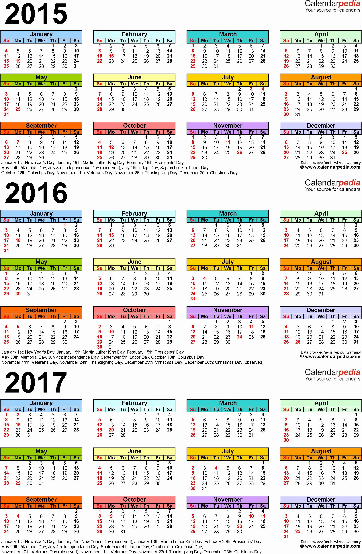Jahreskalender 2017 Excel Designs 2015 2016 2017 Calendar 4 Three Year Printable Pdf Calendars