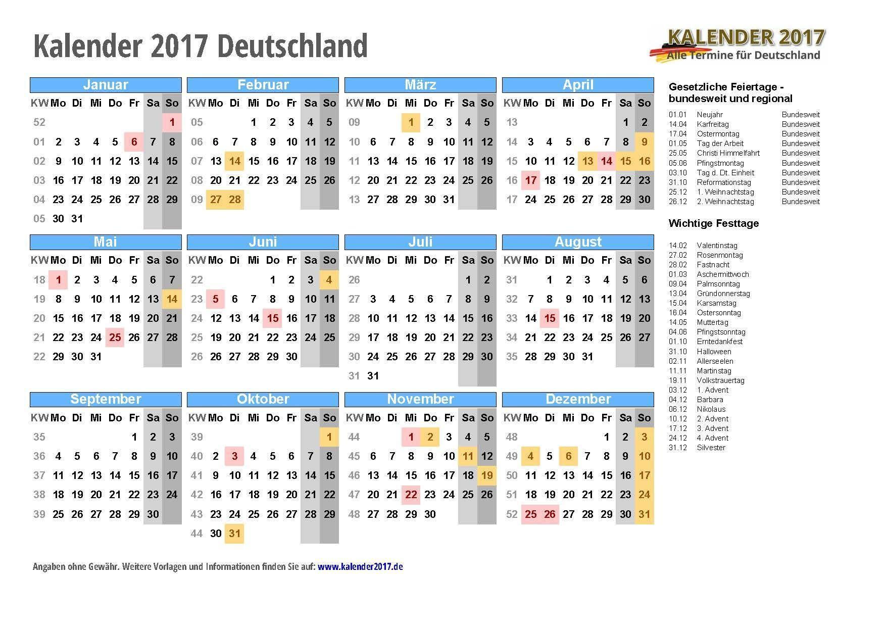 Kalender 2017 Zum Ausdrucken Pdf Vorlagen